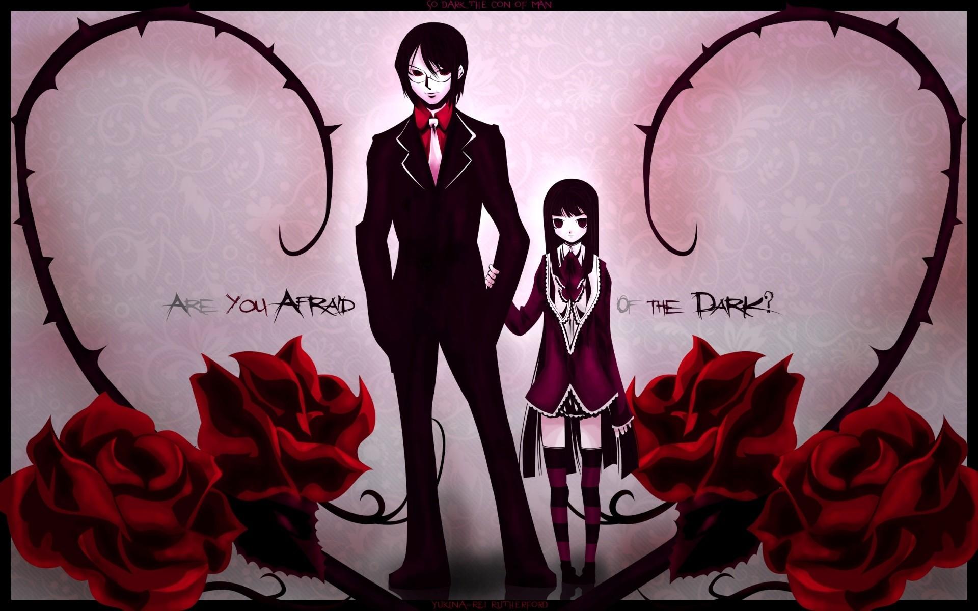Wallpaper Boy, Dark anime, Girl, Rose, Background