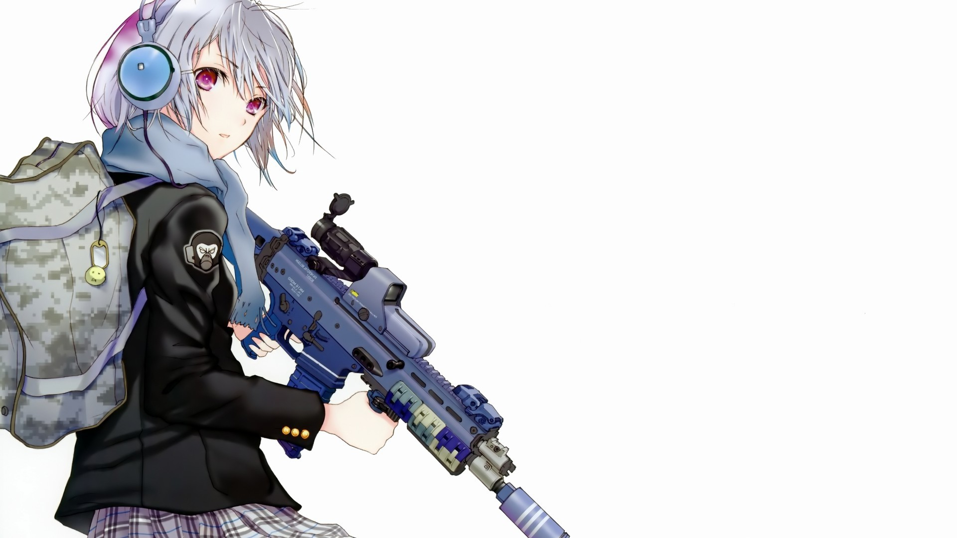 Preview wallpaper anime, girl, attitude, backpack, weapons 1920×1080