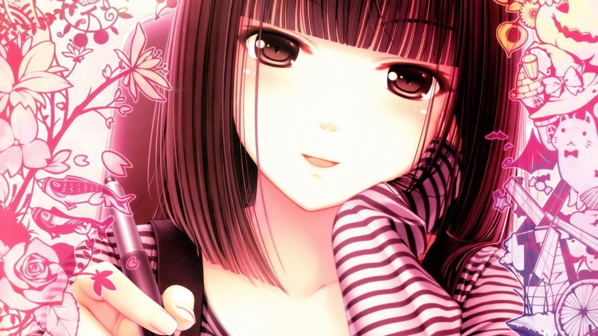 Wallpaper anime, girl, face, pen, white, pink