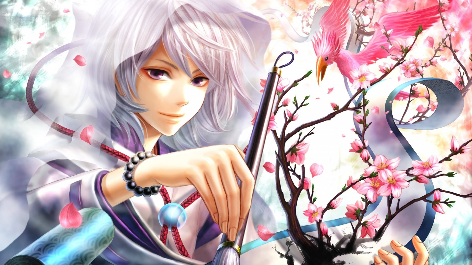Wallpaper anime, girl, hood, brush, painting, drawing, art