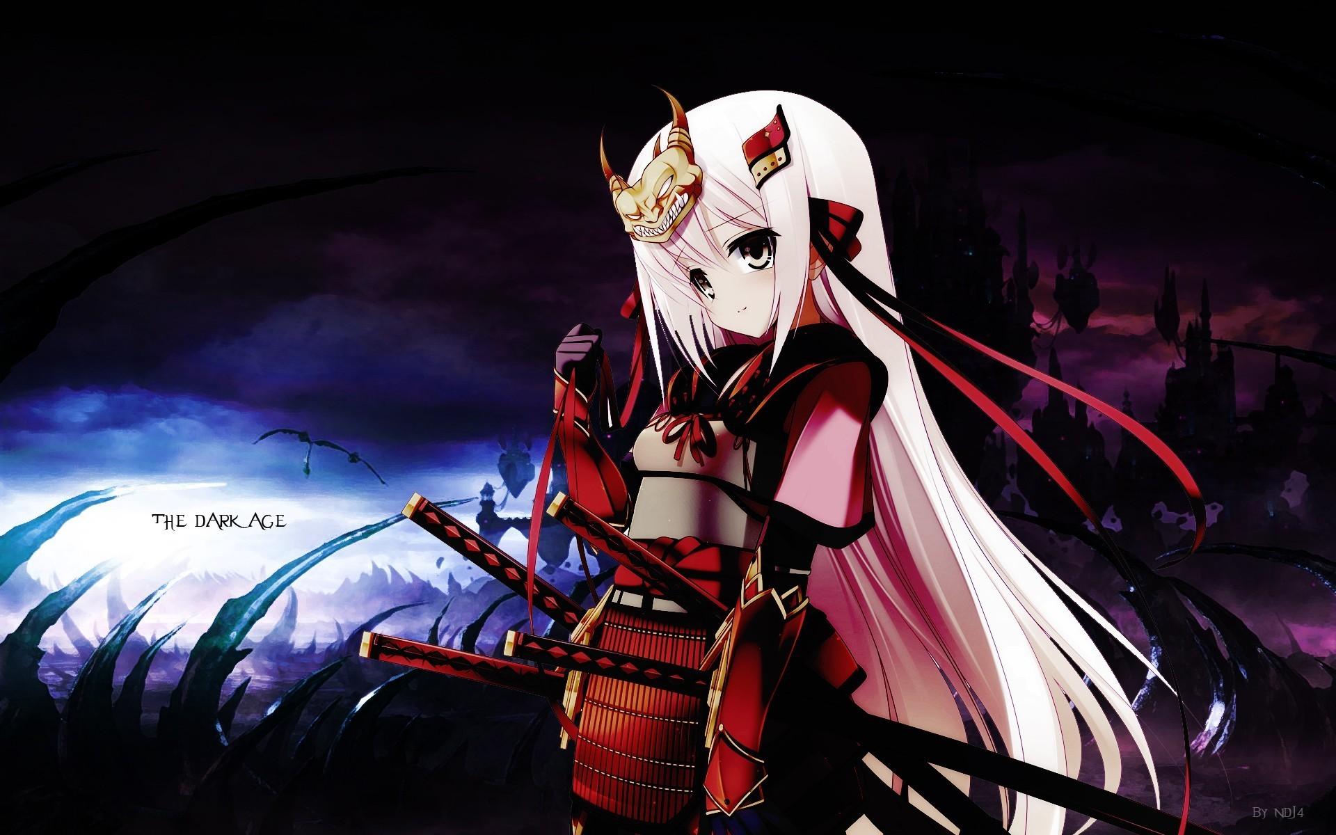 Dark katana samurai long hair ribbons weapons armor pink hair anime girls  swords hair ornaments wallpaper     10569   WallpaperUP