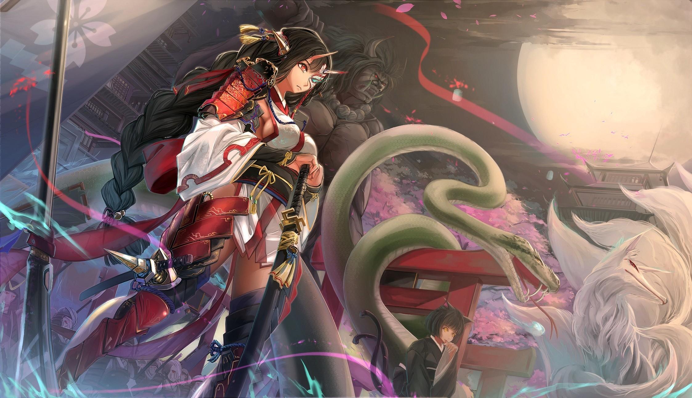 anime, Anime Girls, Original Characters, Snake, Fox, Samurai, Sword, Armor  Wallpapers HD / Desktop and Mobile Backgrounds