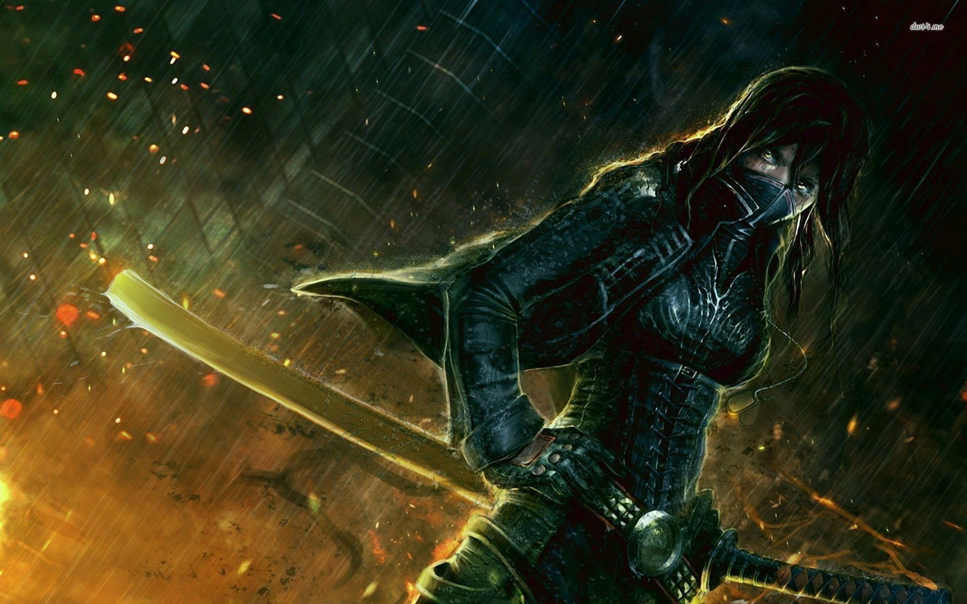 … Samurai warrior girl in the rain