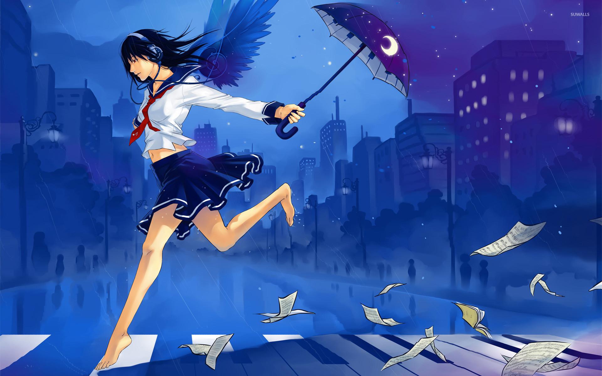 School girl running in the rain wallpaper jpg