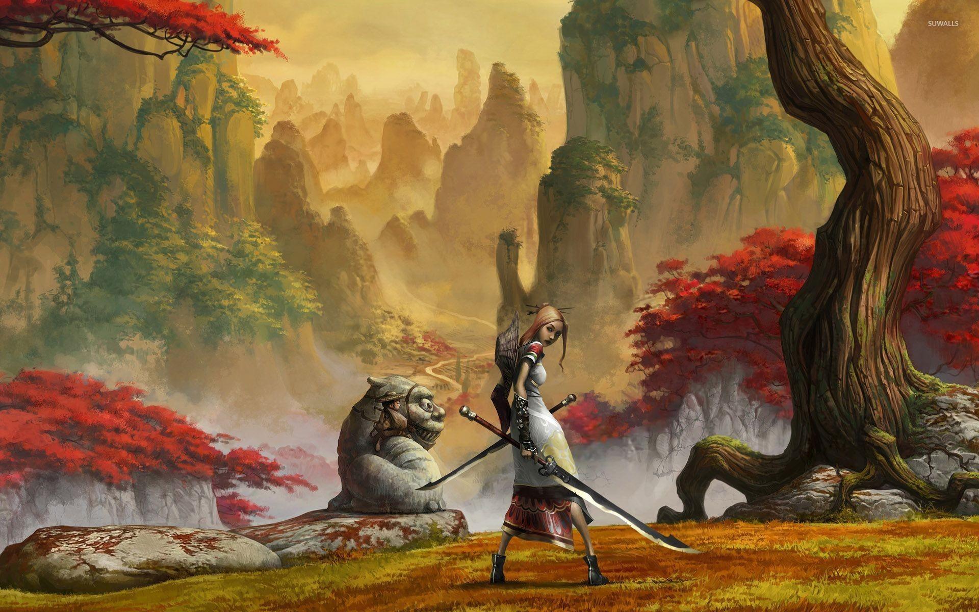 Samurai girl with a sword wallpaper