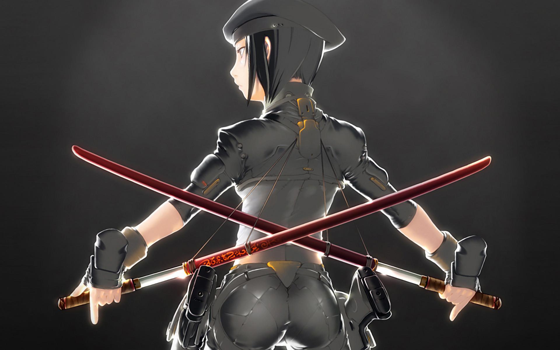 … Military girl with katana swords