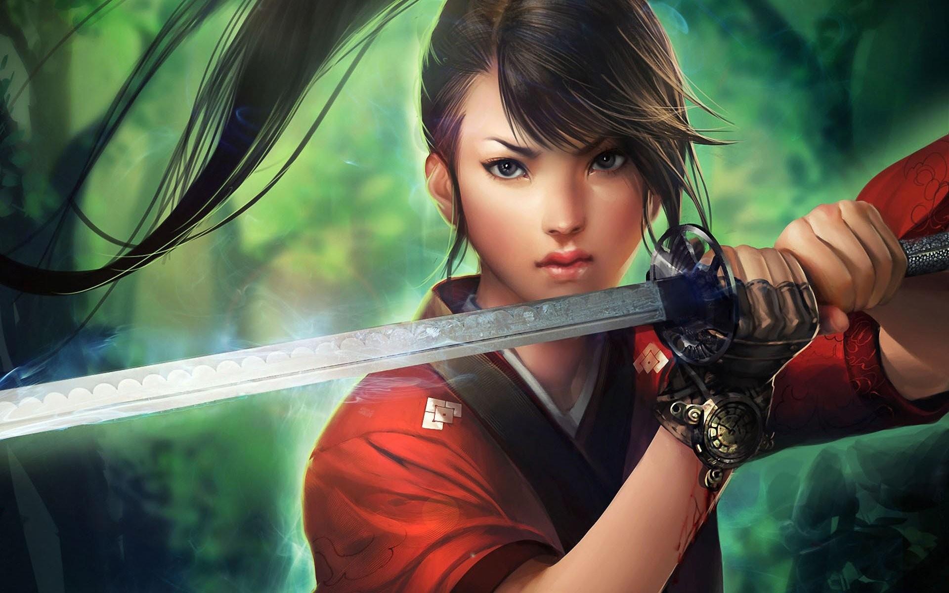 Anime samurai girl sword long hair forest wallpaper     628201    WallpaperUP