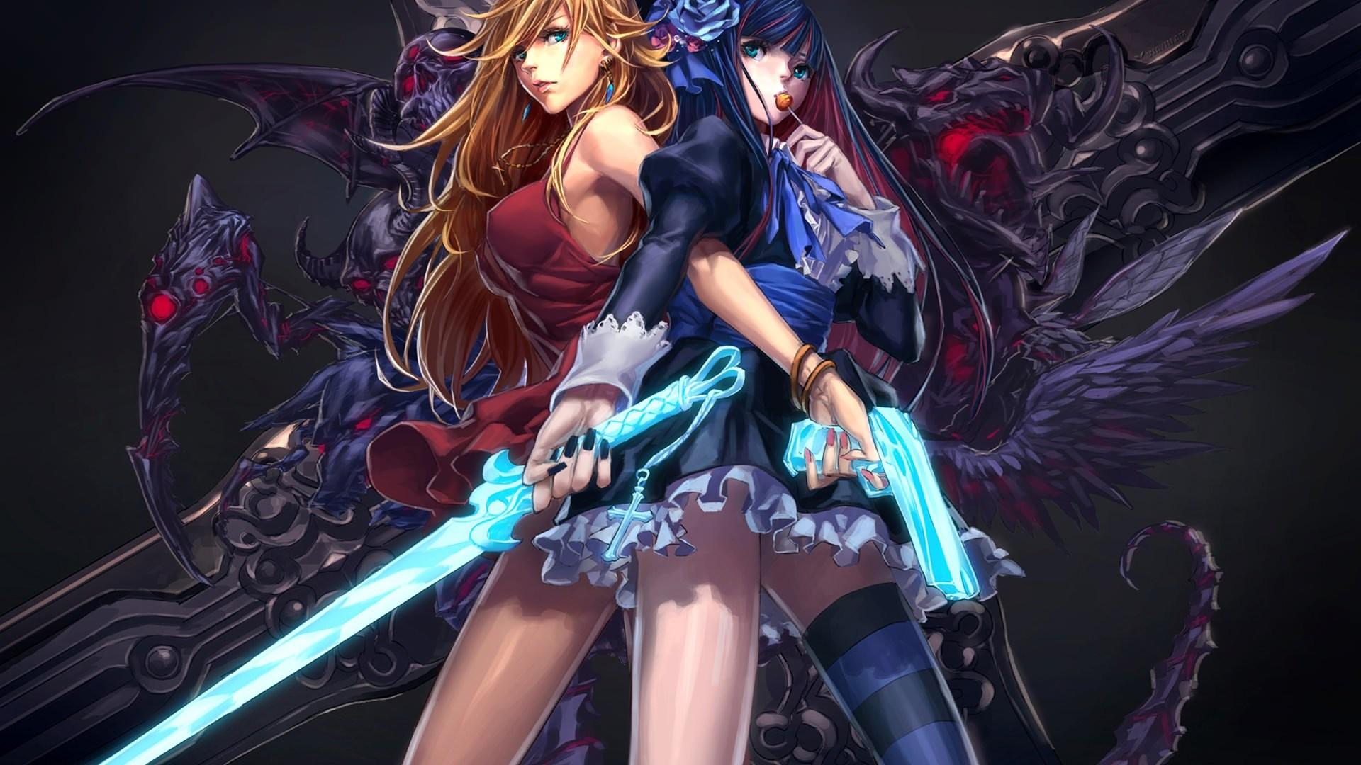 Manga Action Girls Wallpaper