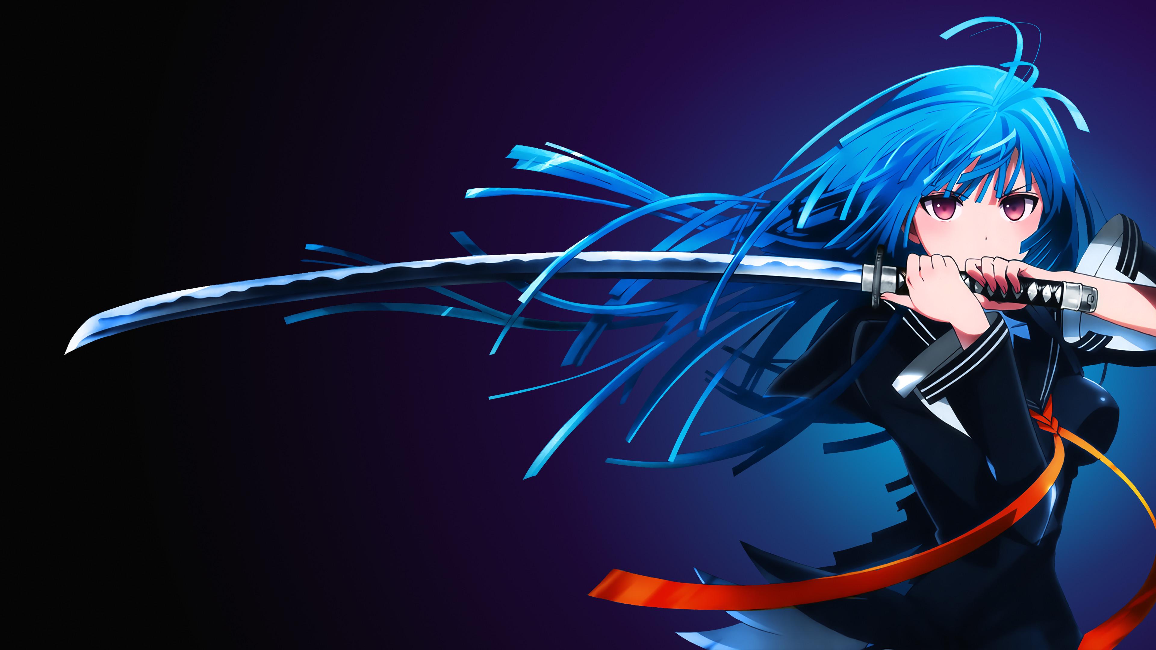 Kisara Tendou, Anime girl, Katana, 4K