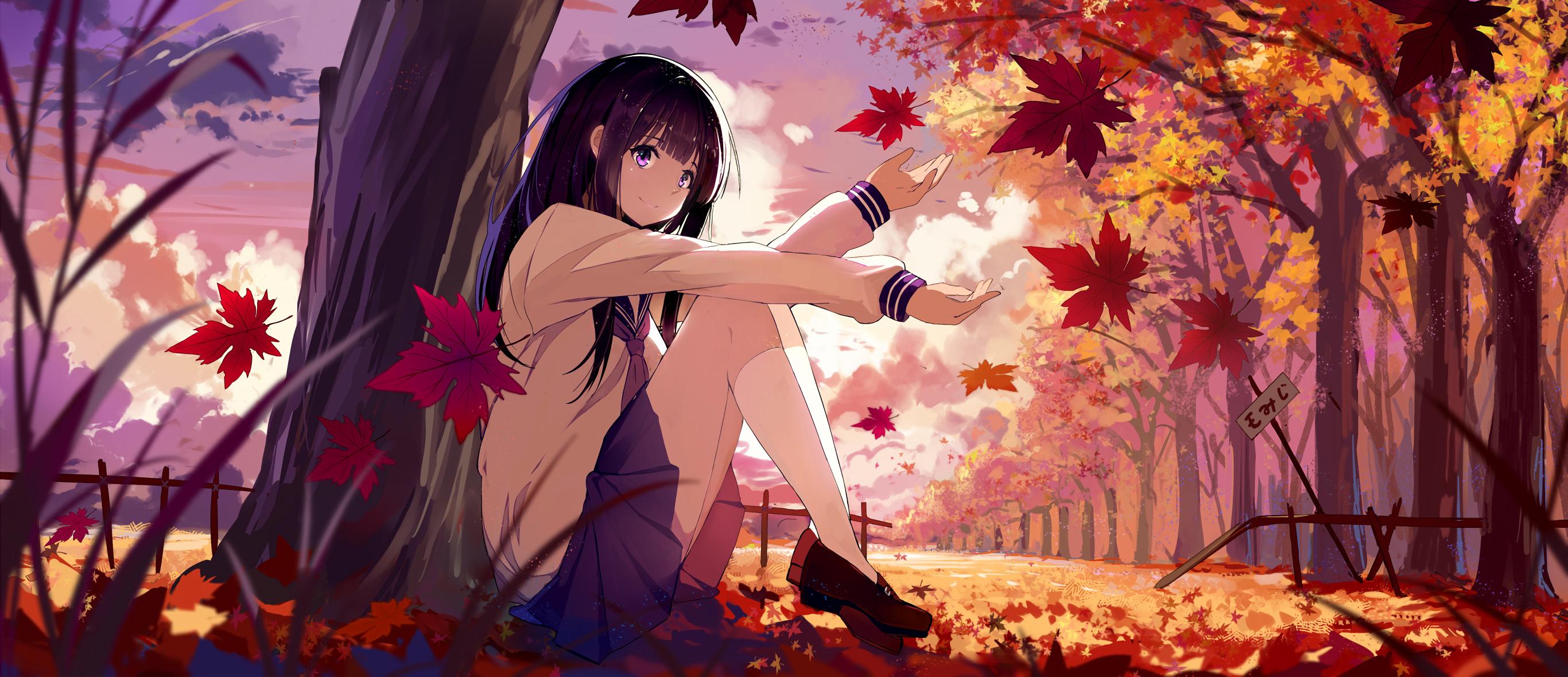 Anime Hyouka Chitanda Eru black hair purple eyes fall leaves