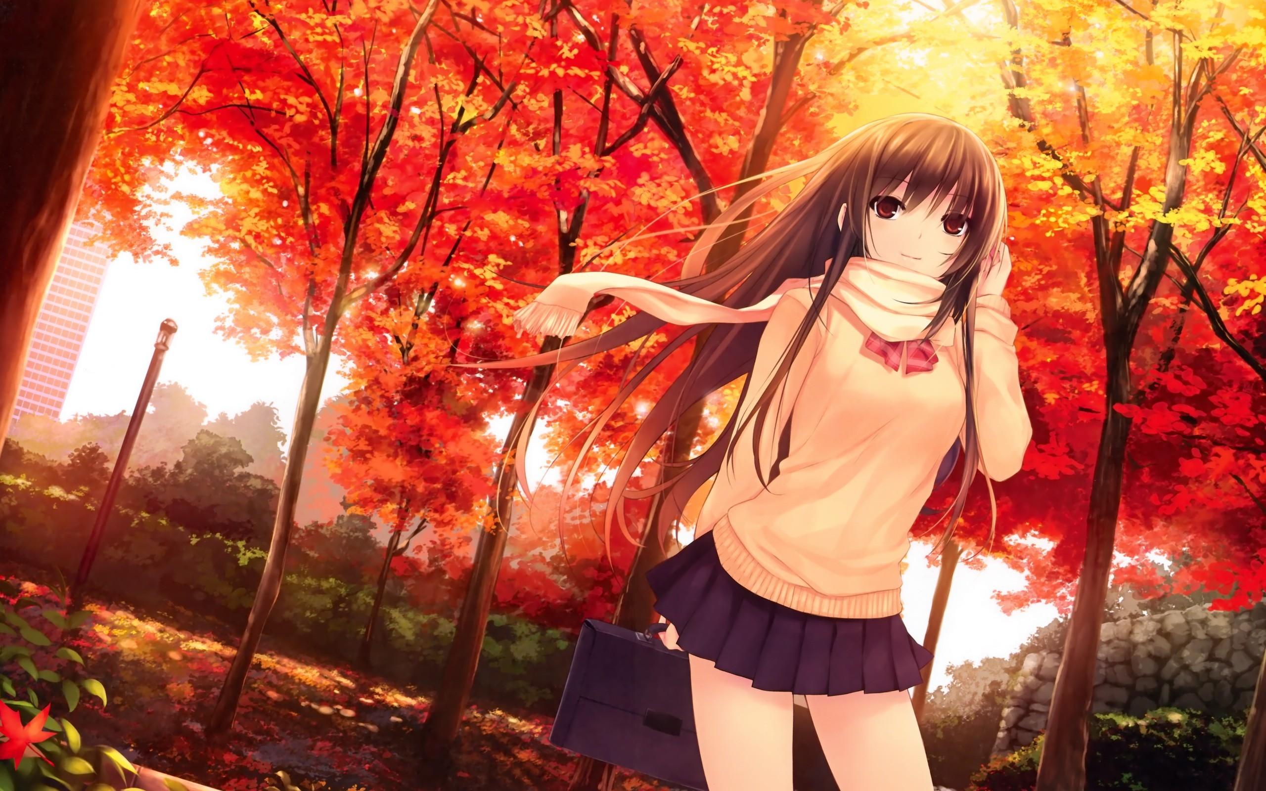 Anime Girls Autumn Bows Brunettes Buildings Coffee-Kizoku Leaves Long Hair  Red Eyes Scarfs School Uniforms Trees