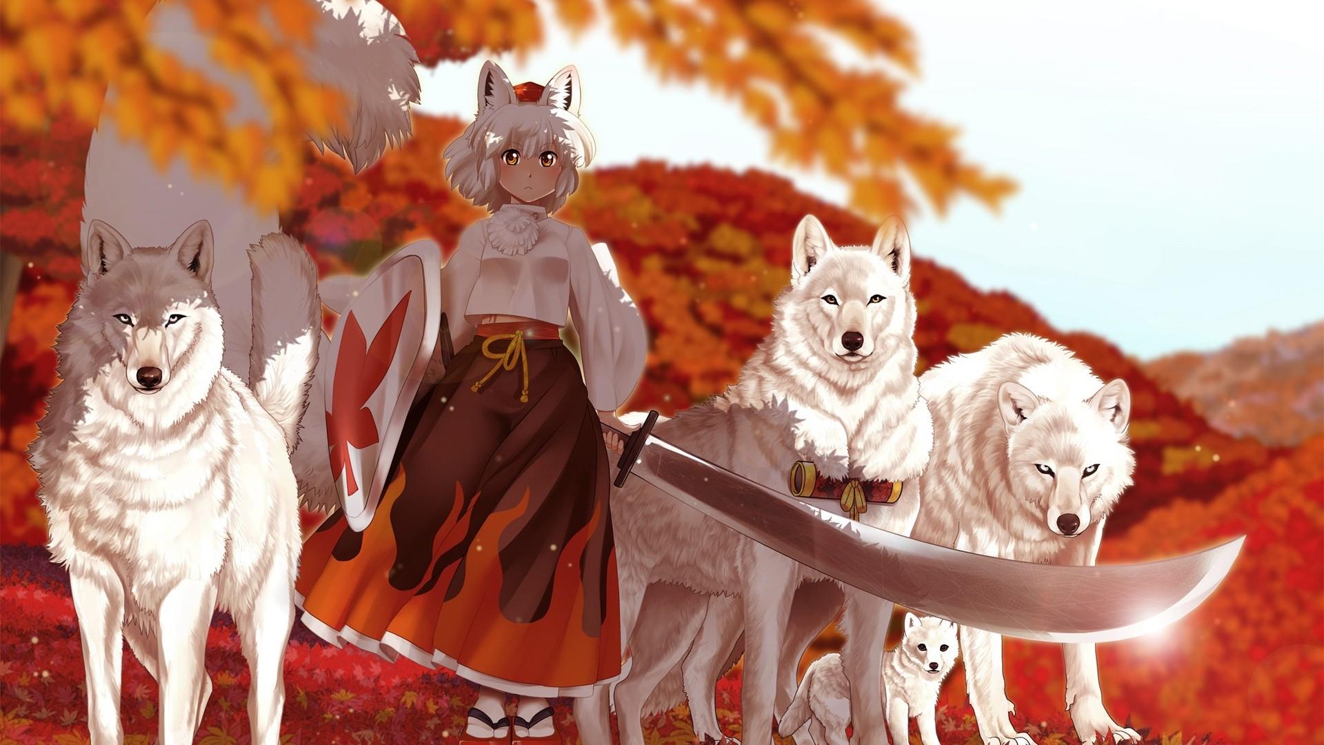 Wallpaper anime, girl, kimono, sword, wolf, autumn