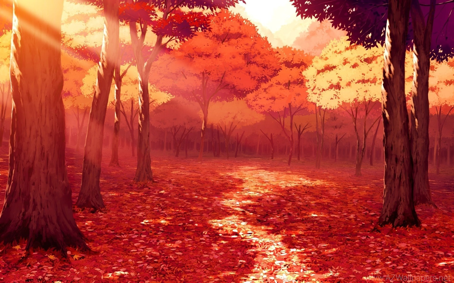 Drawing, Artwork, Fall, Leaves, Sunlight, Forest, Red, Anime .