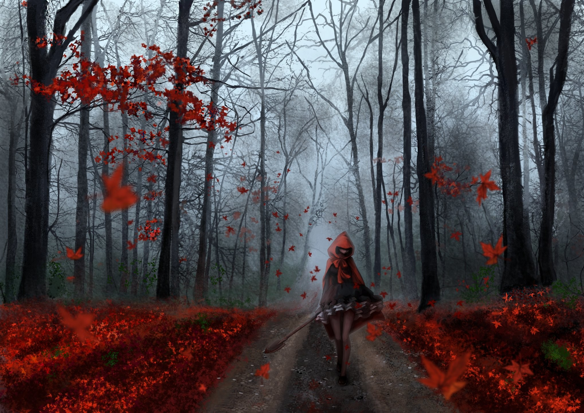 Anime girl forest autumn tree red leaf road wallpaper     607179    WallpaperUP