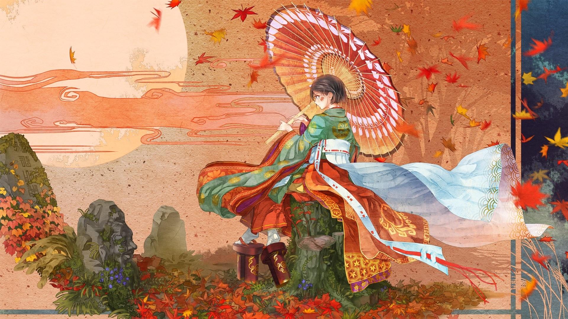 Kimono anime girl leaves red autumn umbrella beaut short hair wallpaper      863804   WallpaperUP