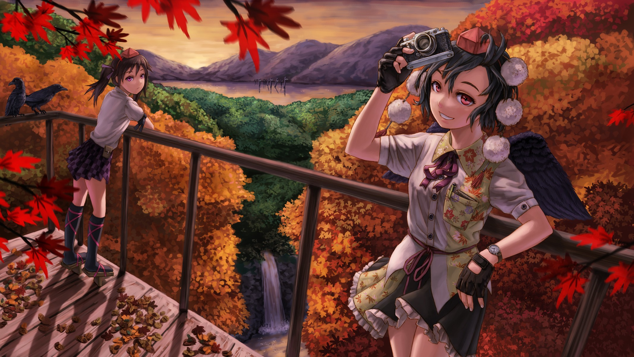 … autumn leaves skirts long hair cameras red eyes short hair twintails  scenic shameimaru aya lakes purple eyes himekaidou hatate anime girls  wallpaper …