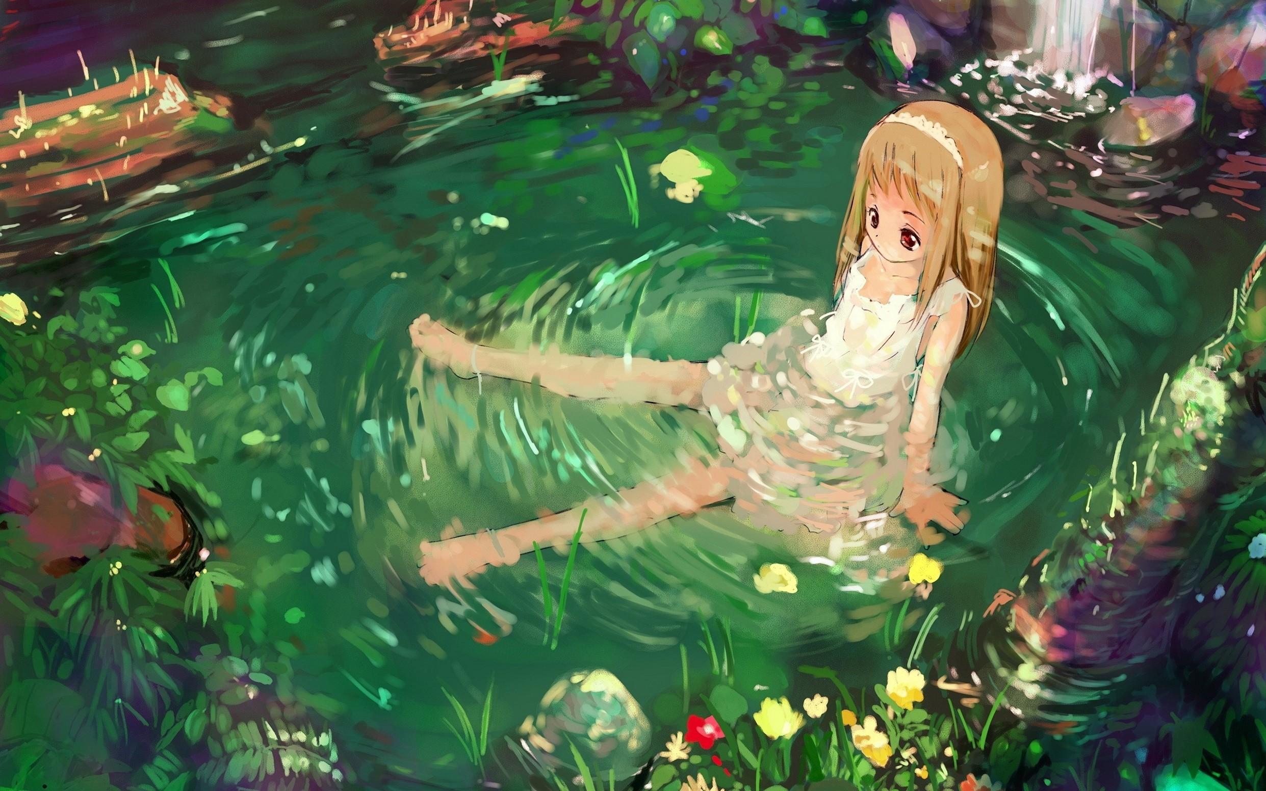 Girl Nature Water Sadness Top Wallpaper Anime
