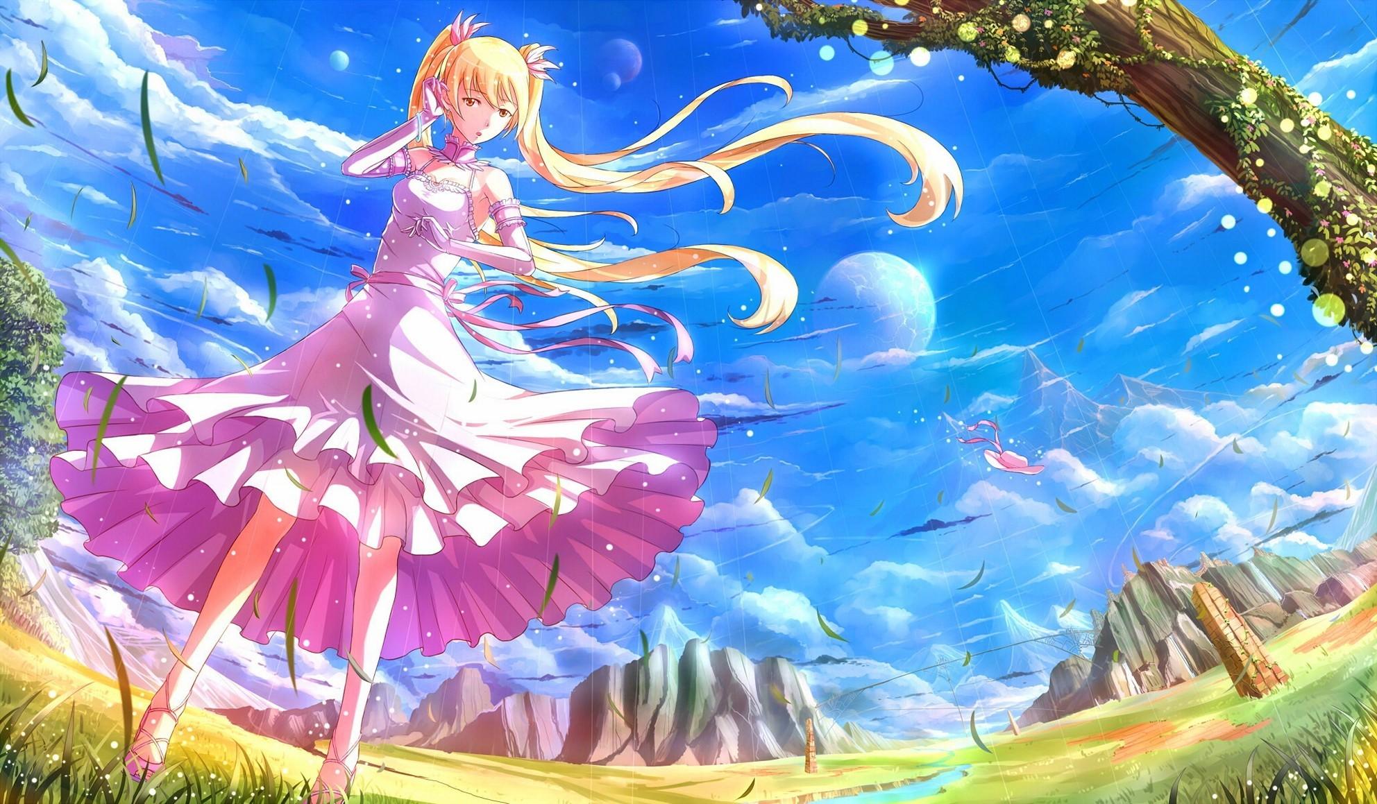 Girl Hair Blonde Nature Wind Inspired Live Anime Wallpaper