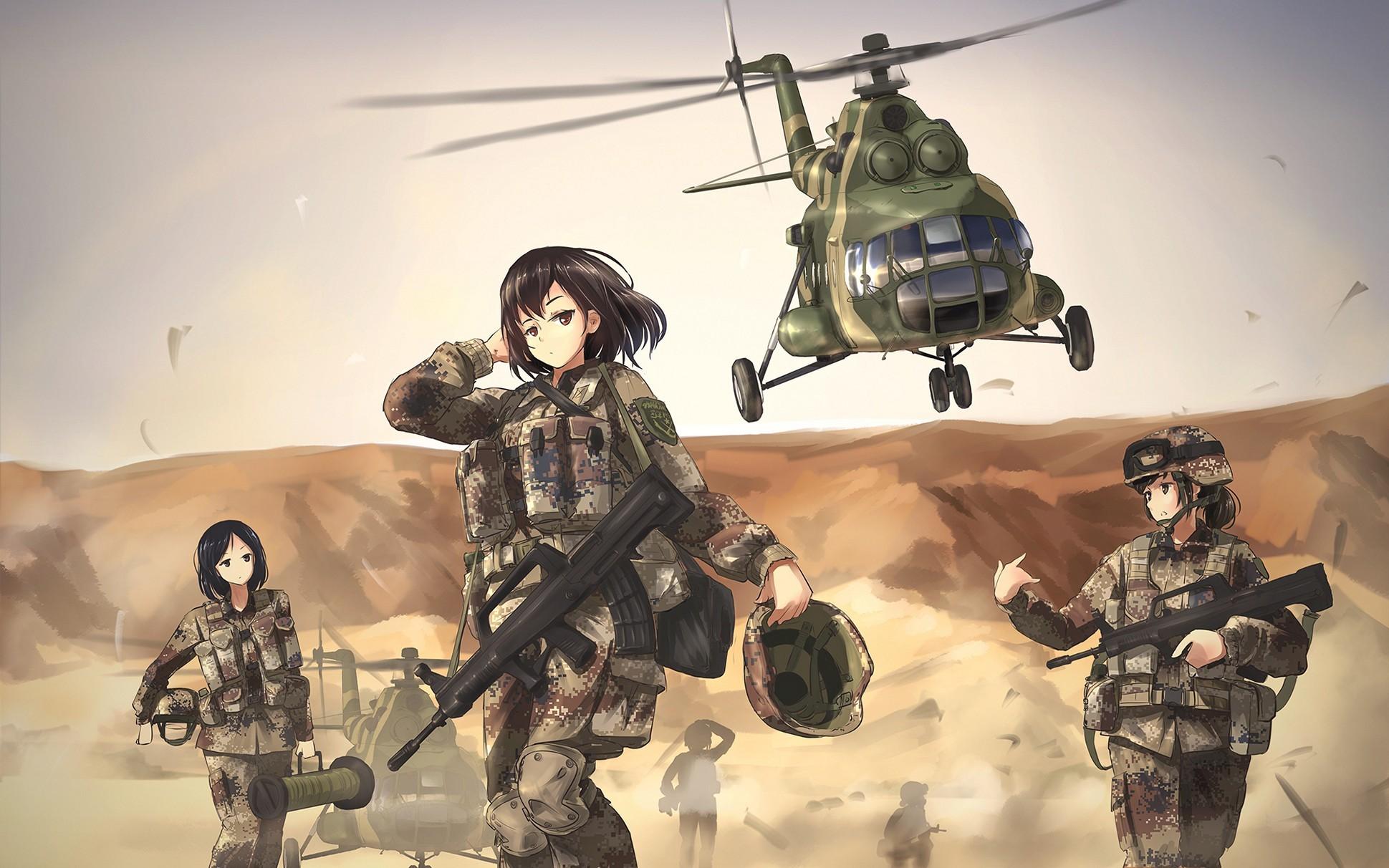 Girl Helicopter Art Great Cute Anime Boy Wallpaper