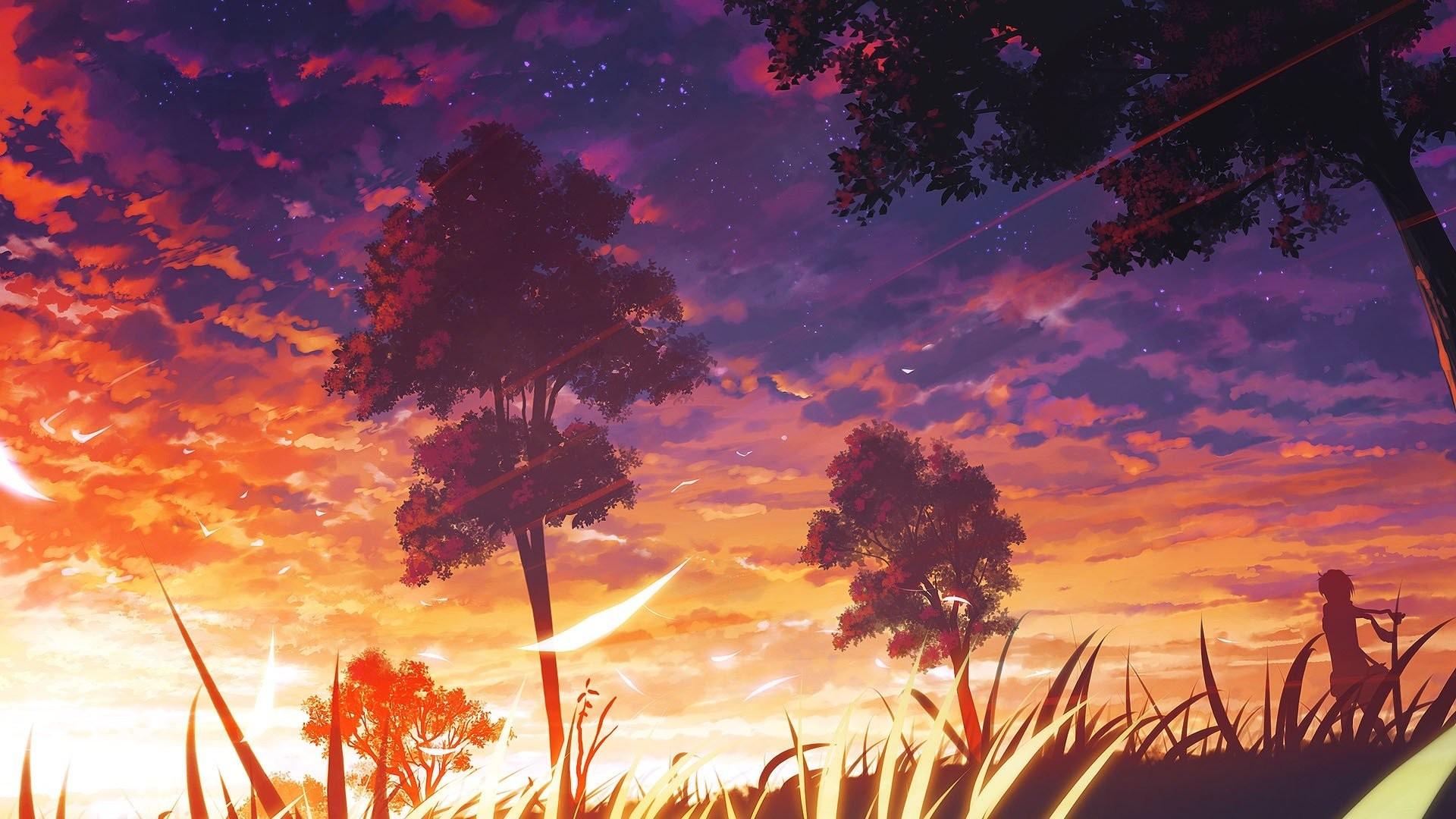 Anime Scenic Sunset Trees