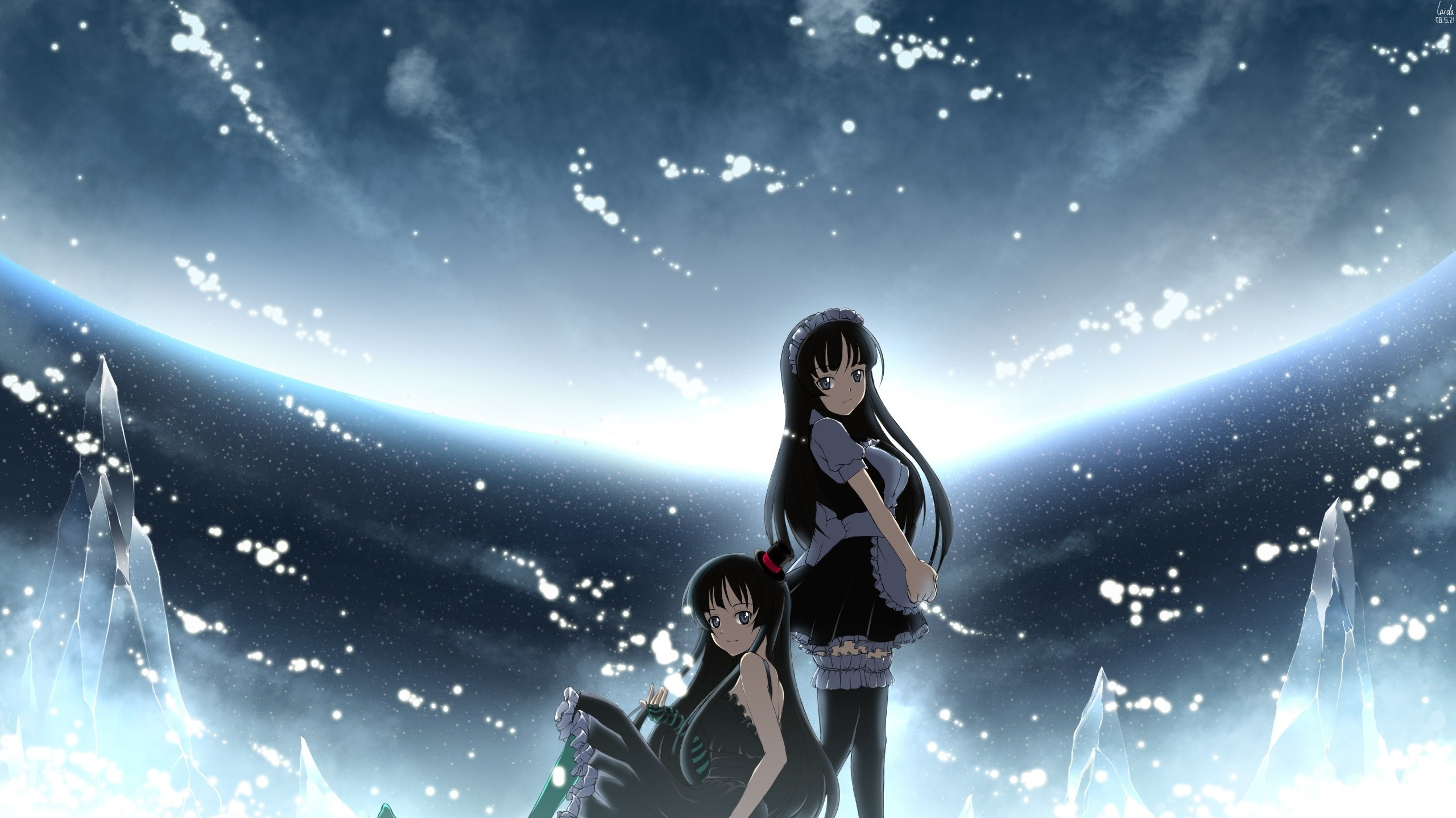 Wallpaper anime, brunette, ice, snow, space