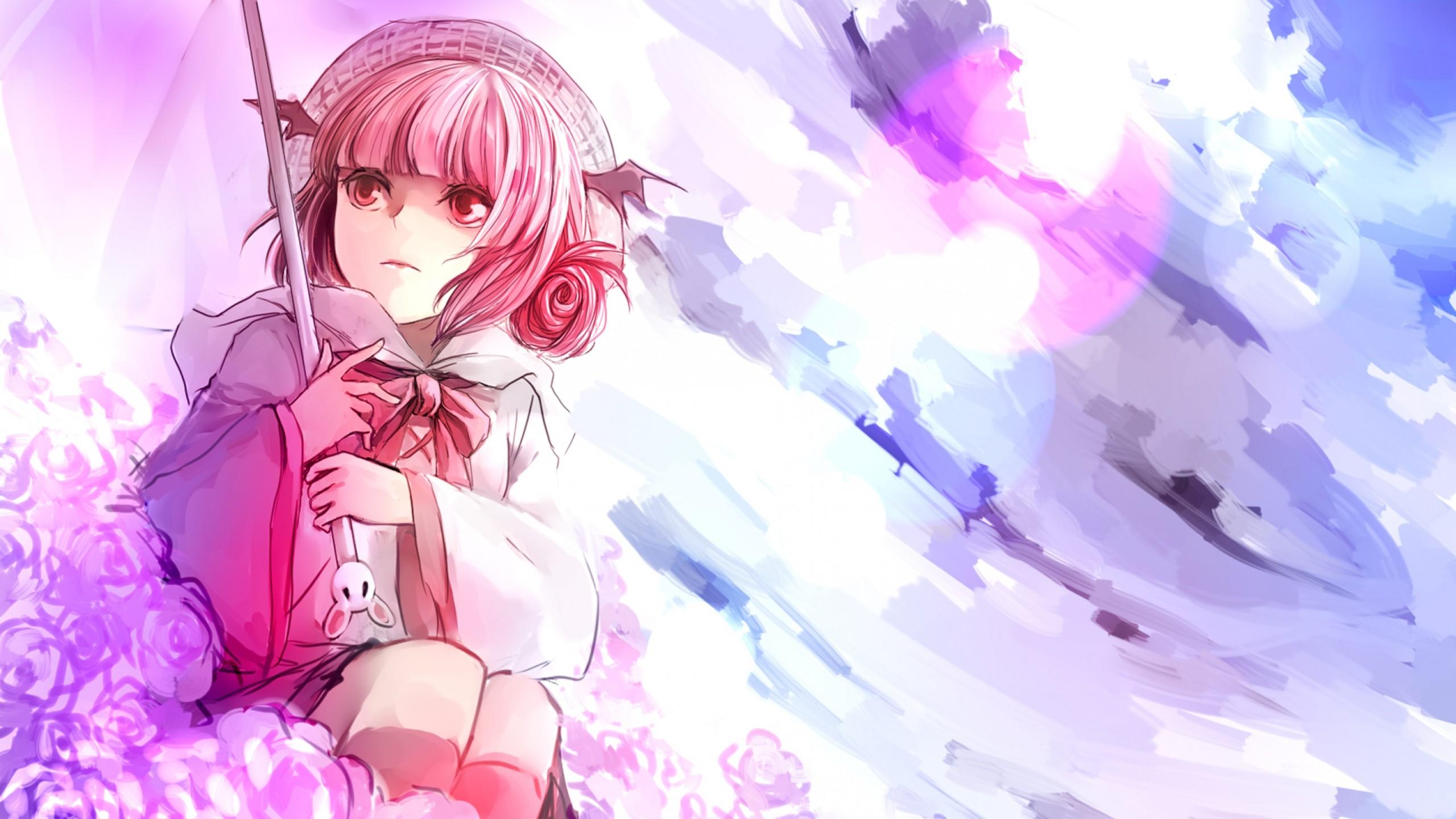 Wallpaper anime, girl, art, umbrella, flowers, pink