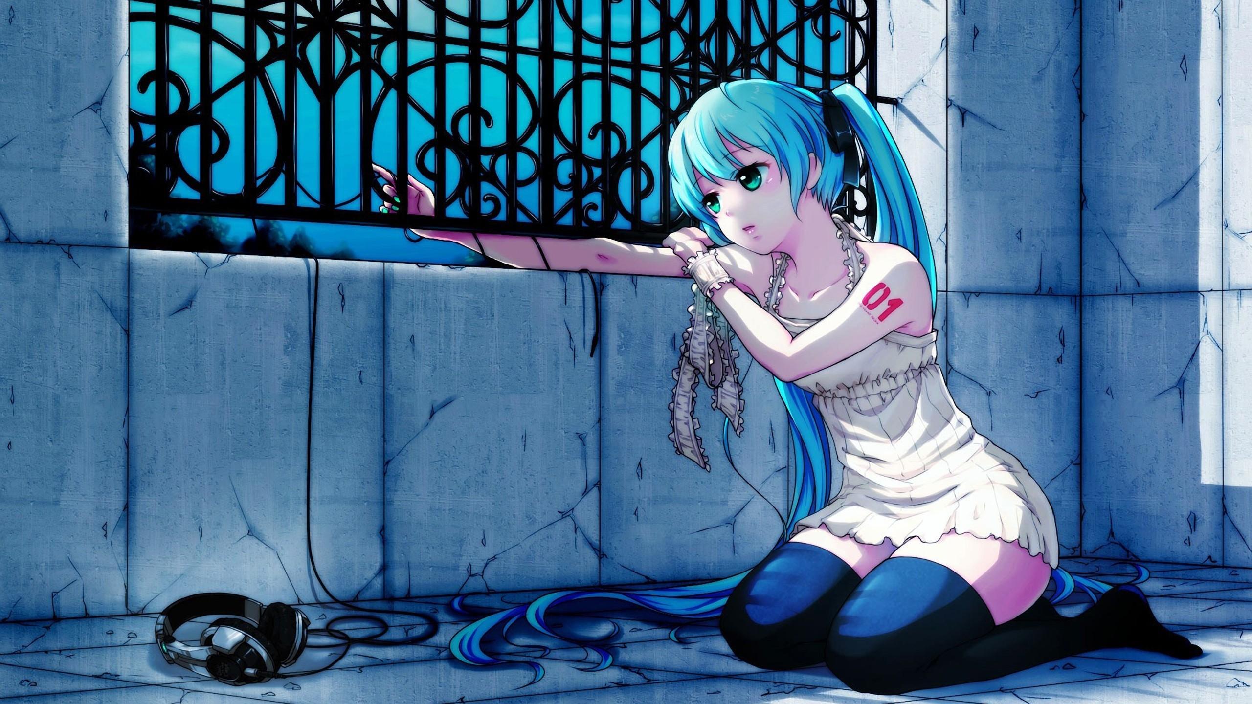 Wallpaper anime, girl, hair, headphones, sadness, fence