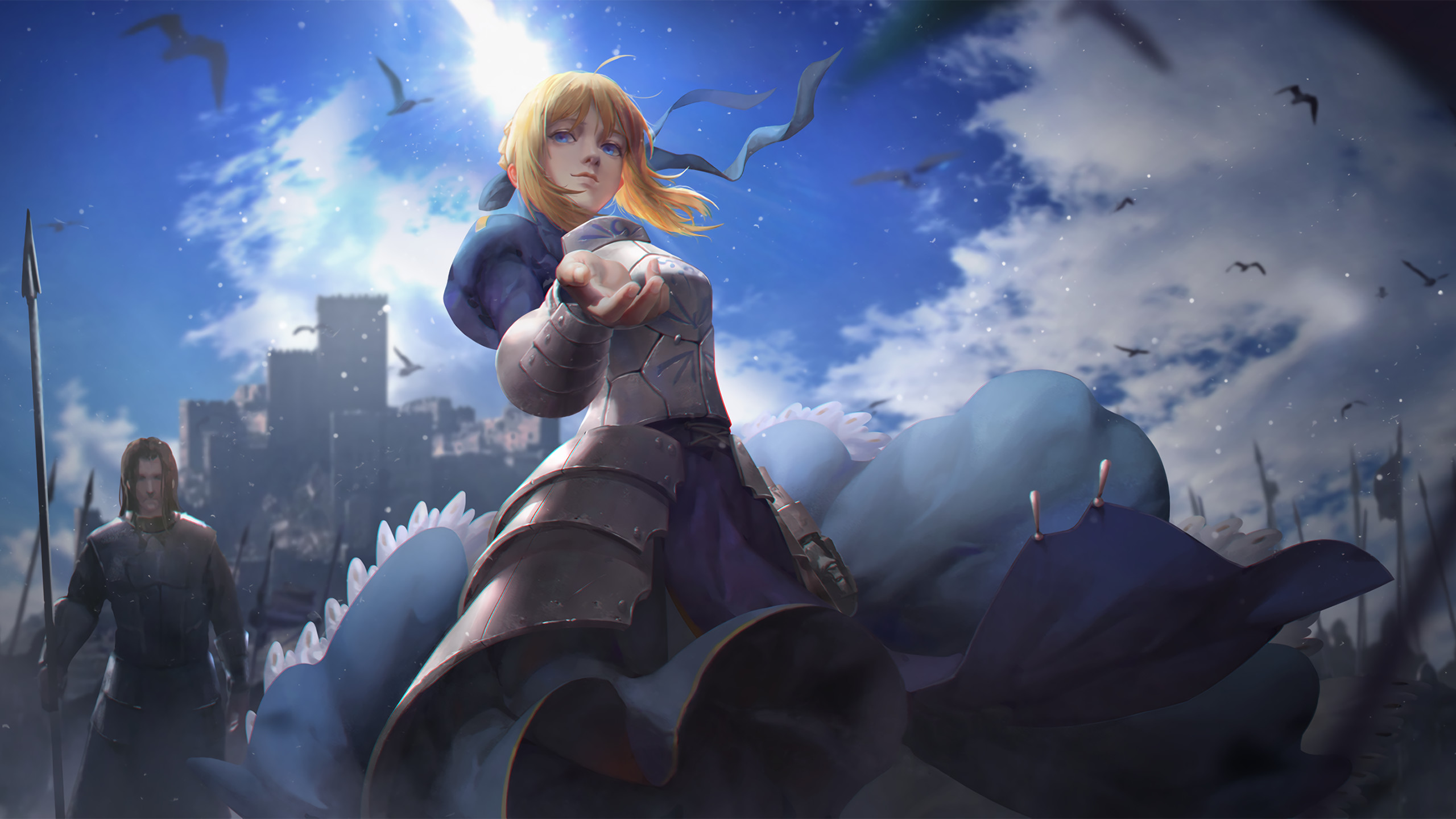 Anime anime girls Fate Series Saber knight armor castle