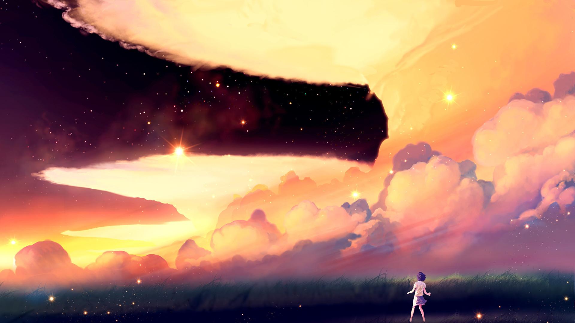 Images Stars akio-bako Anime Sky Clouds 2560×1440