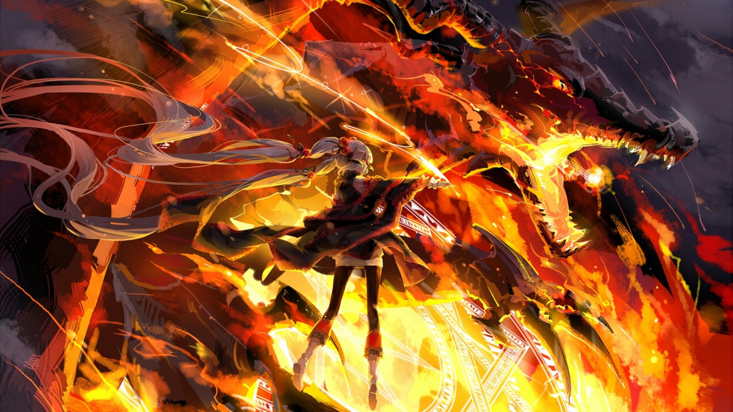 dragons fire anime Wallpaper HD