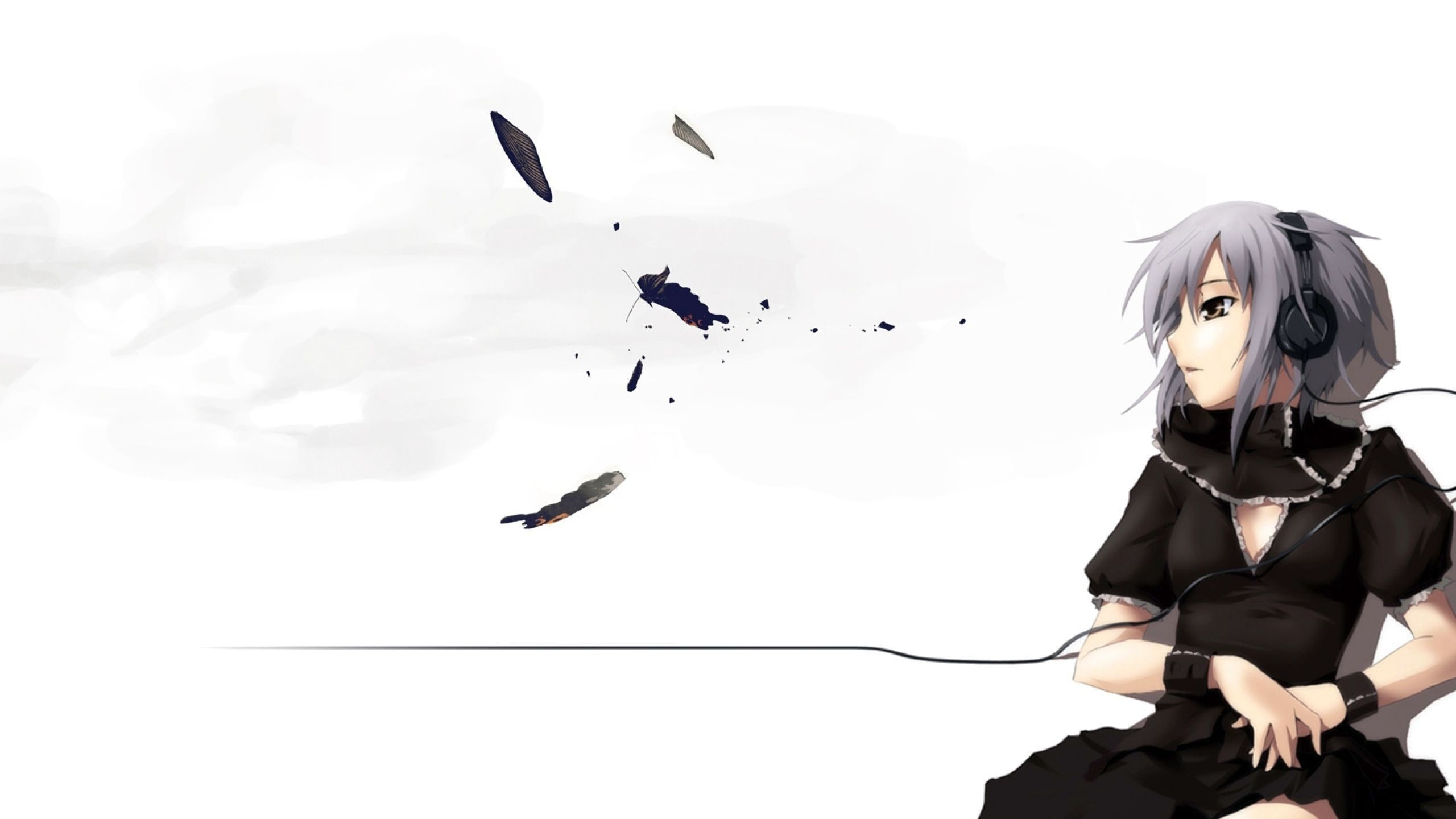 Download Wallpaper Anime, Girl, Headphones, Cables .