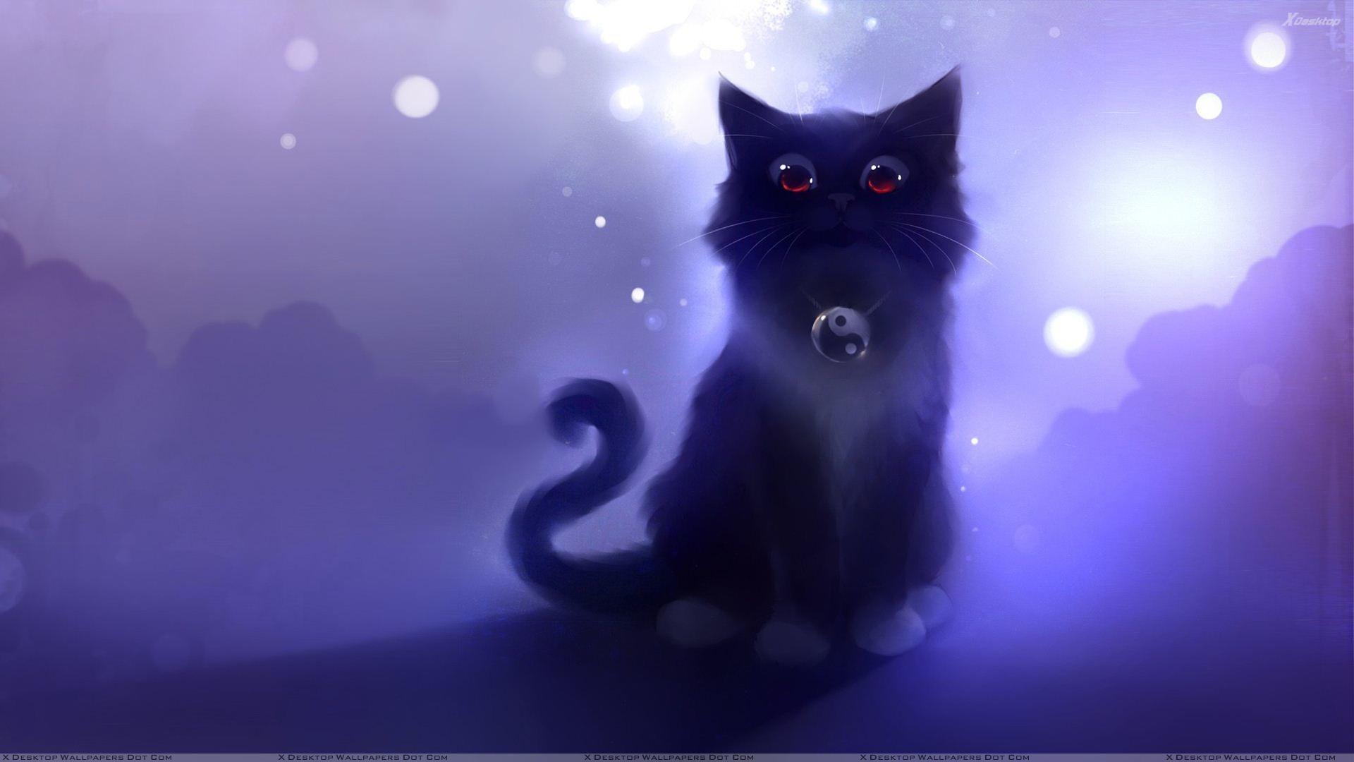 Cartoon Black Cat Sitting Wallpaper