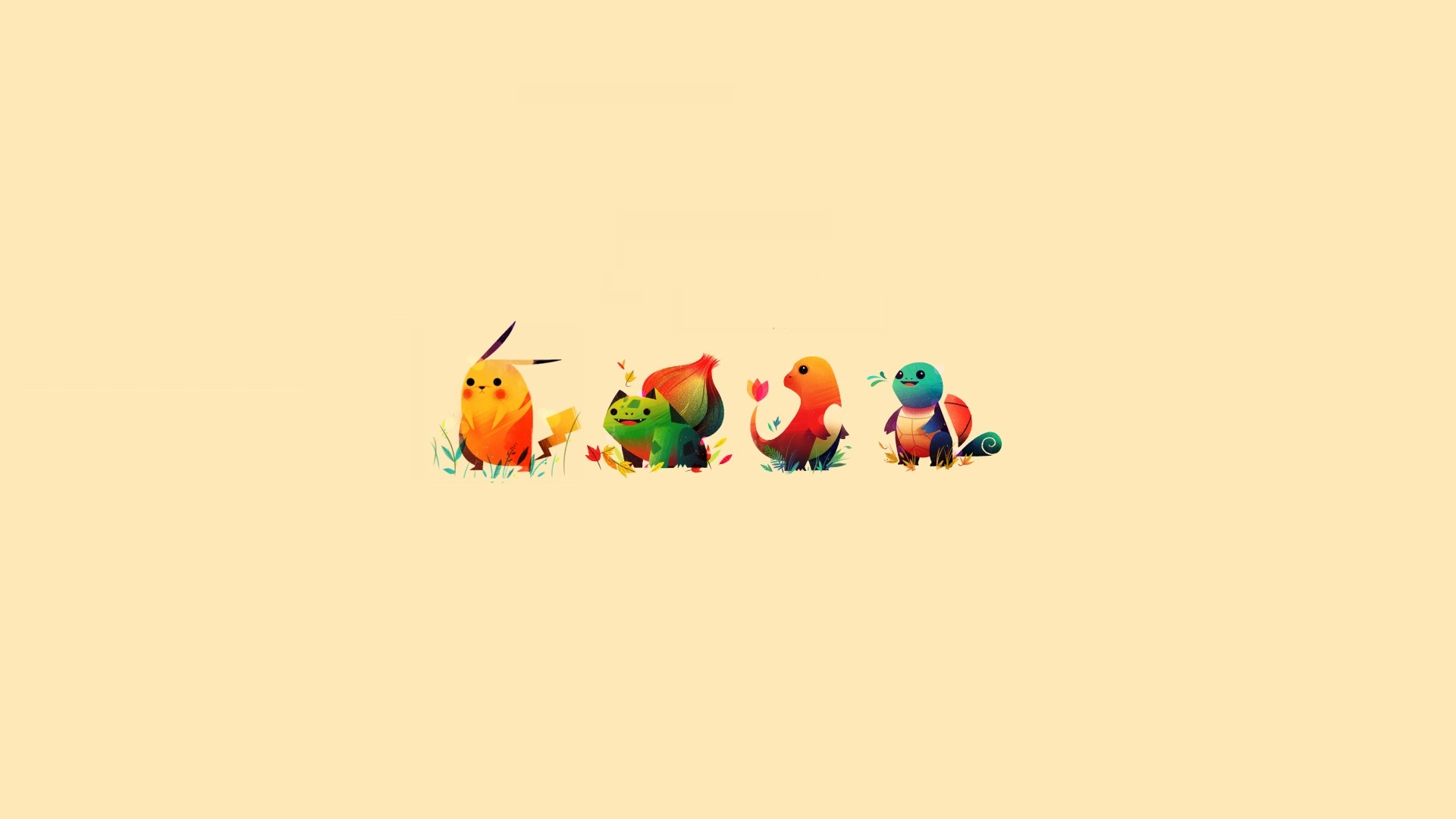 Pokemon minimalistic bulbasaur pikachu squirtle sepia backgrounds  charmander starter wallpaper