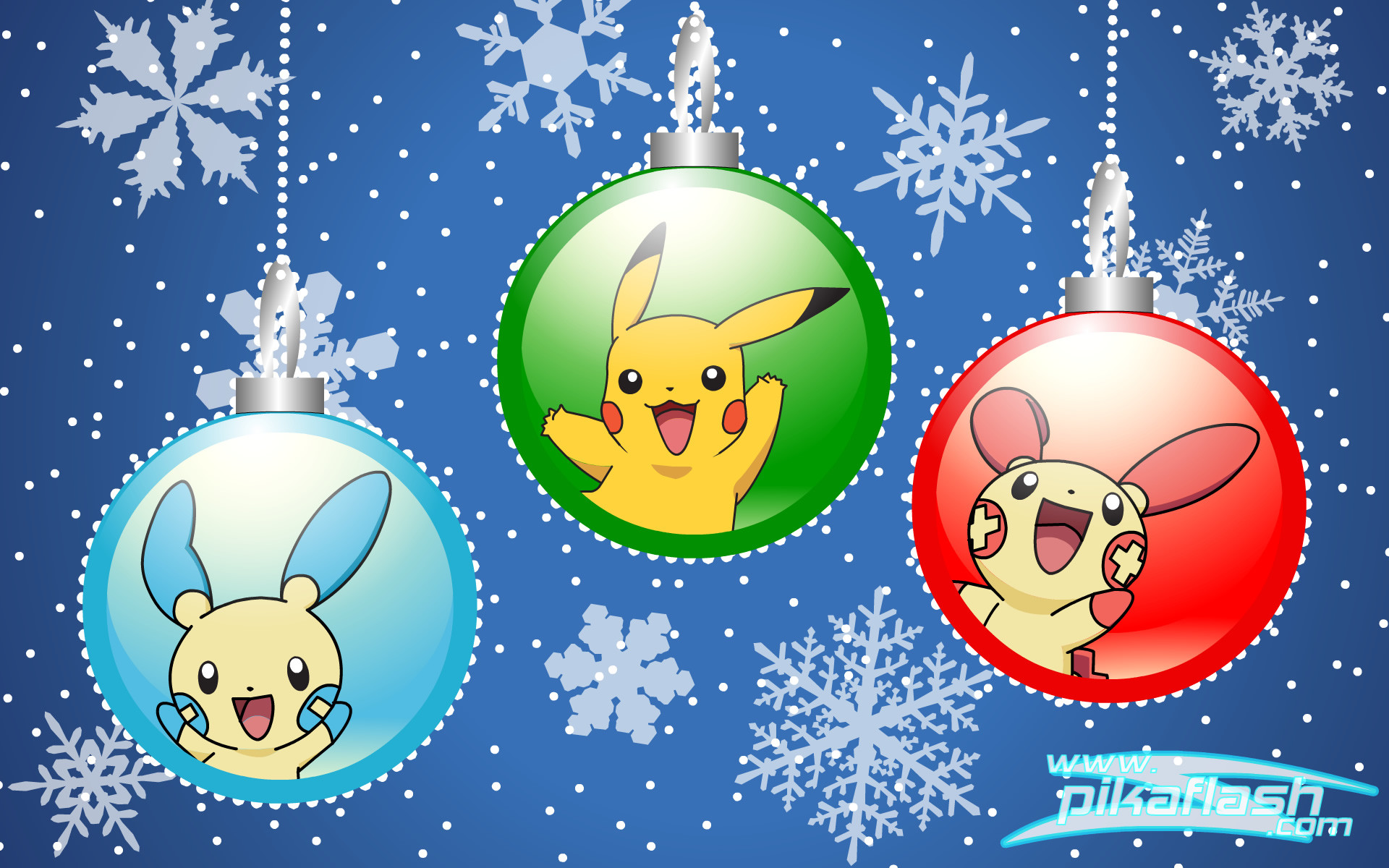 Video Game РPok̩mon Christmas Christmas Ornaments Winter Pikachu Plusle ( Pok̩mon) Minun (Pok̩mon