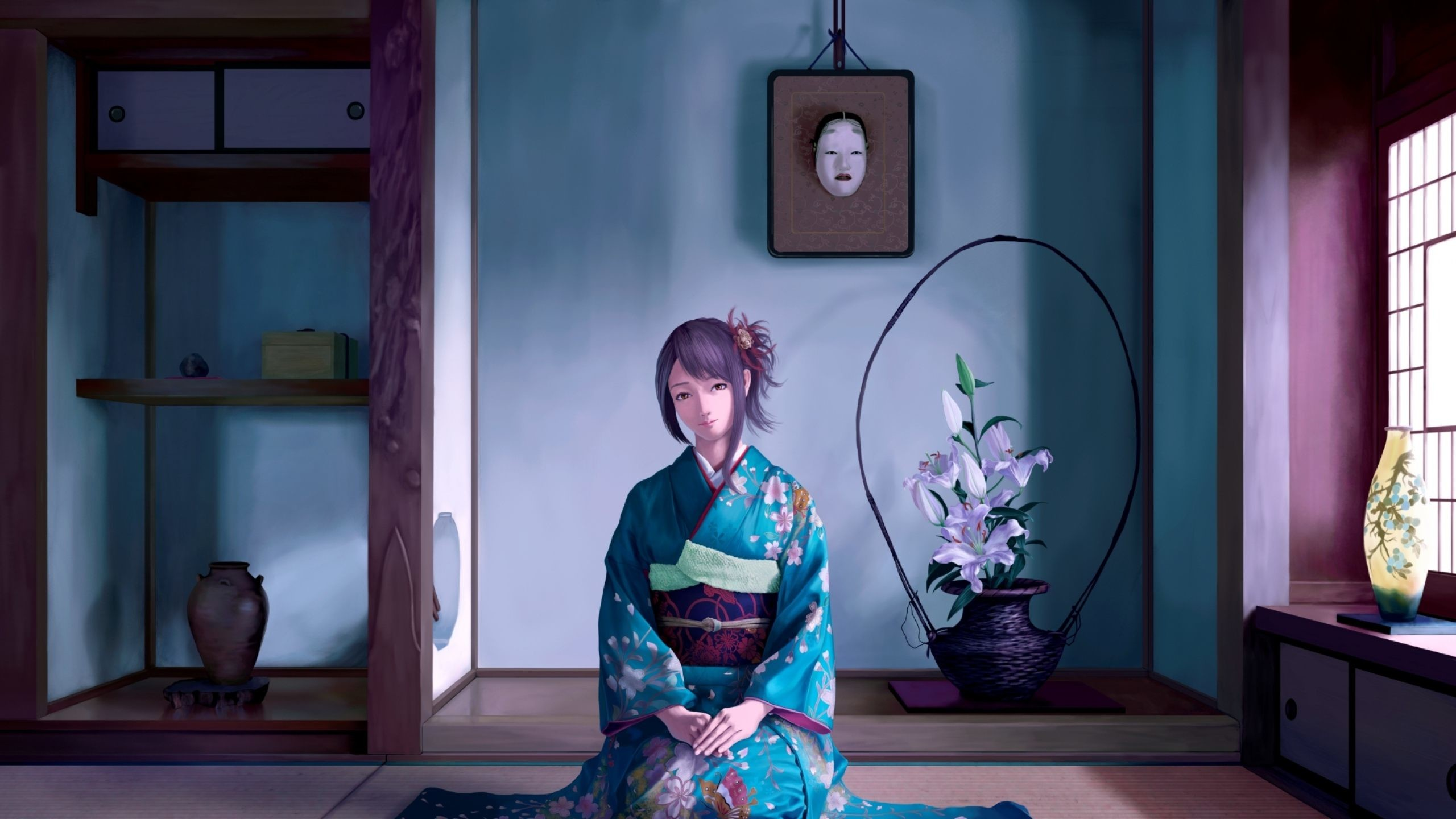 Japanese Anime Girl Traditional Wallpaper