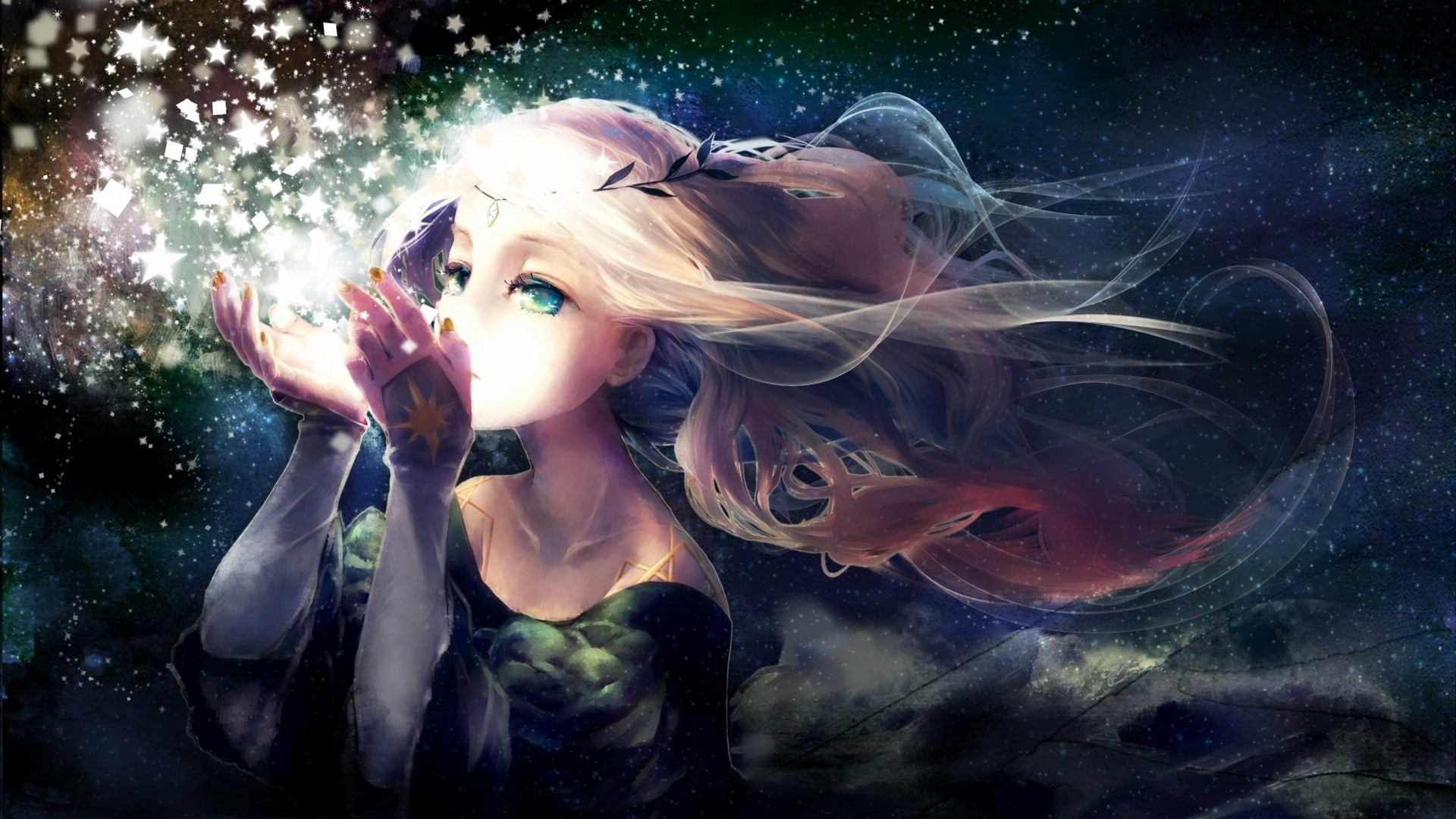 Wallpaper yukino neko, girl, anime, star, wreath