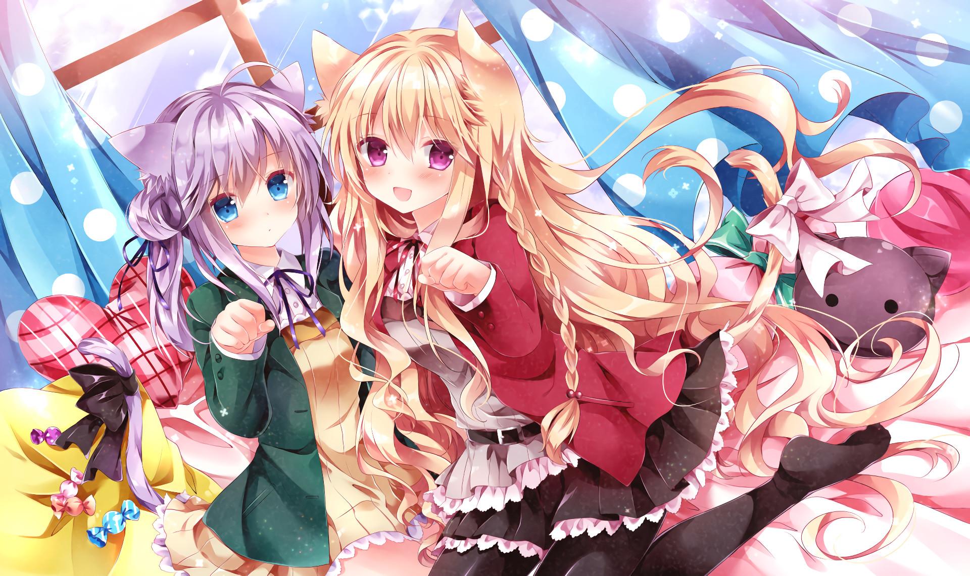 Anime Girls, Animal Ear, Neko, Blonde, Braid, Purple Hair