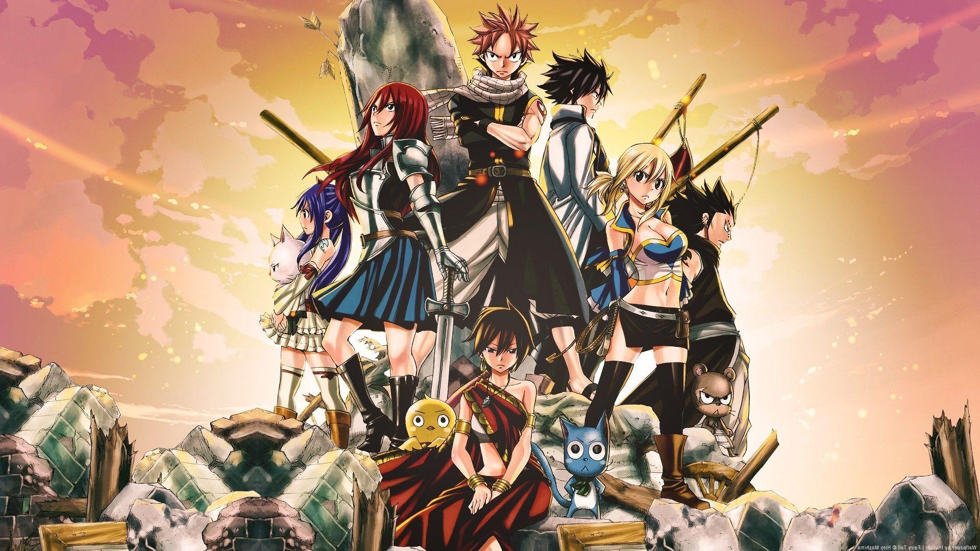 anime, Fairy Tail, Scarlet Erza, Fullbuster Gray, Dragneel Natsu . …