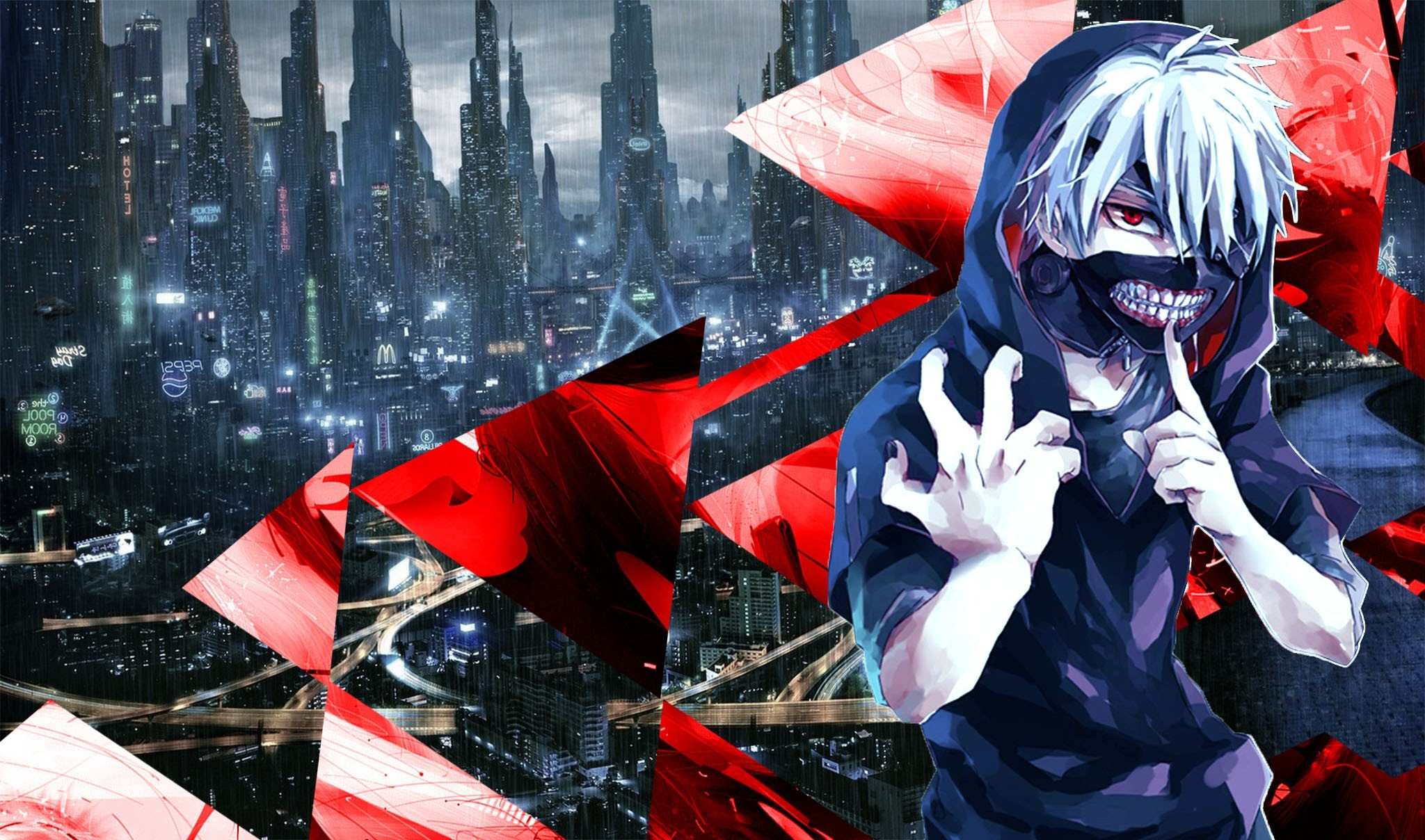 Tokyo Ghoul, Kaneki Ken, Blue, Red, Abstract, Anime Wallpapers HD / Desktop  and Mobile Backgrounds
