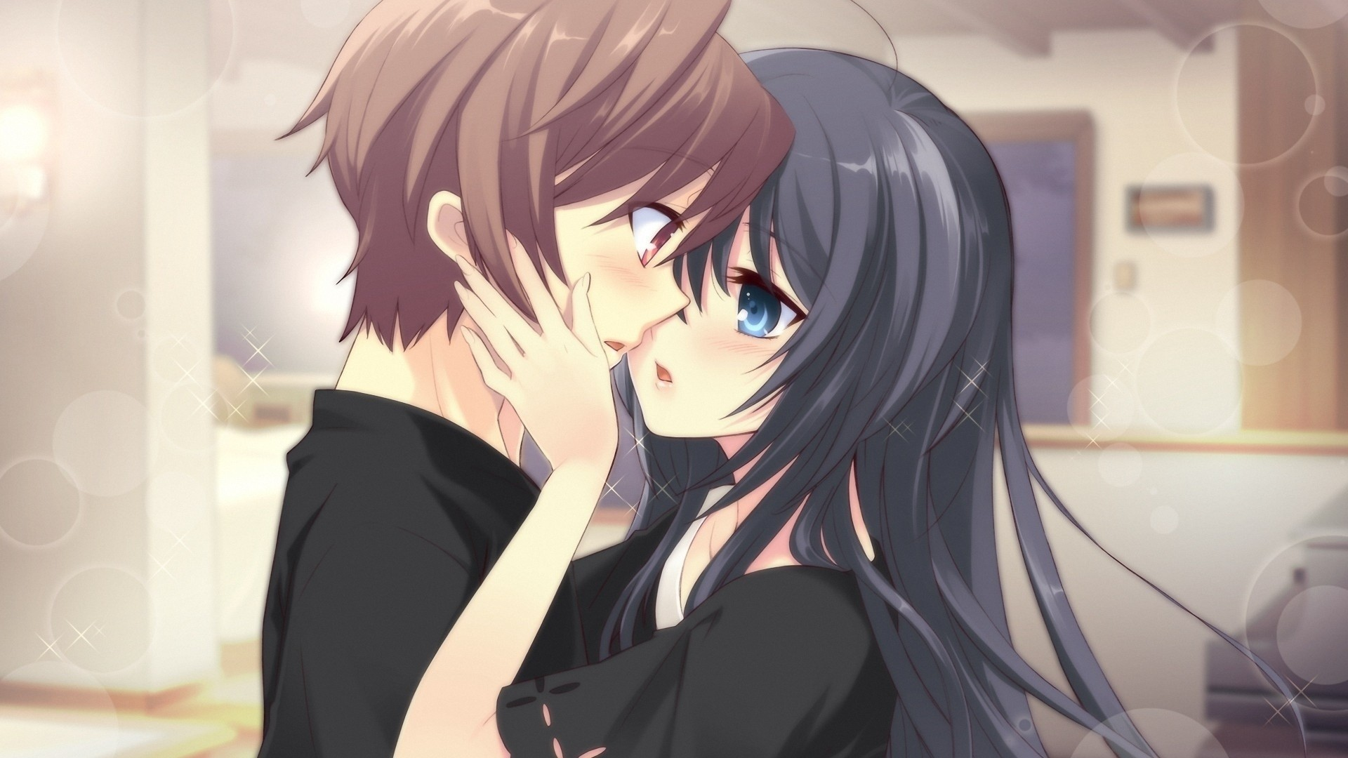 Preview wallpaper anime, boy, girl, tenderness, kiss, room 1920×1080