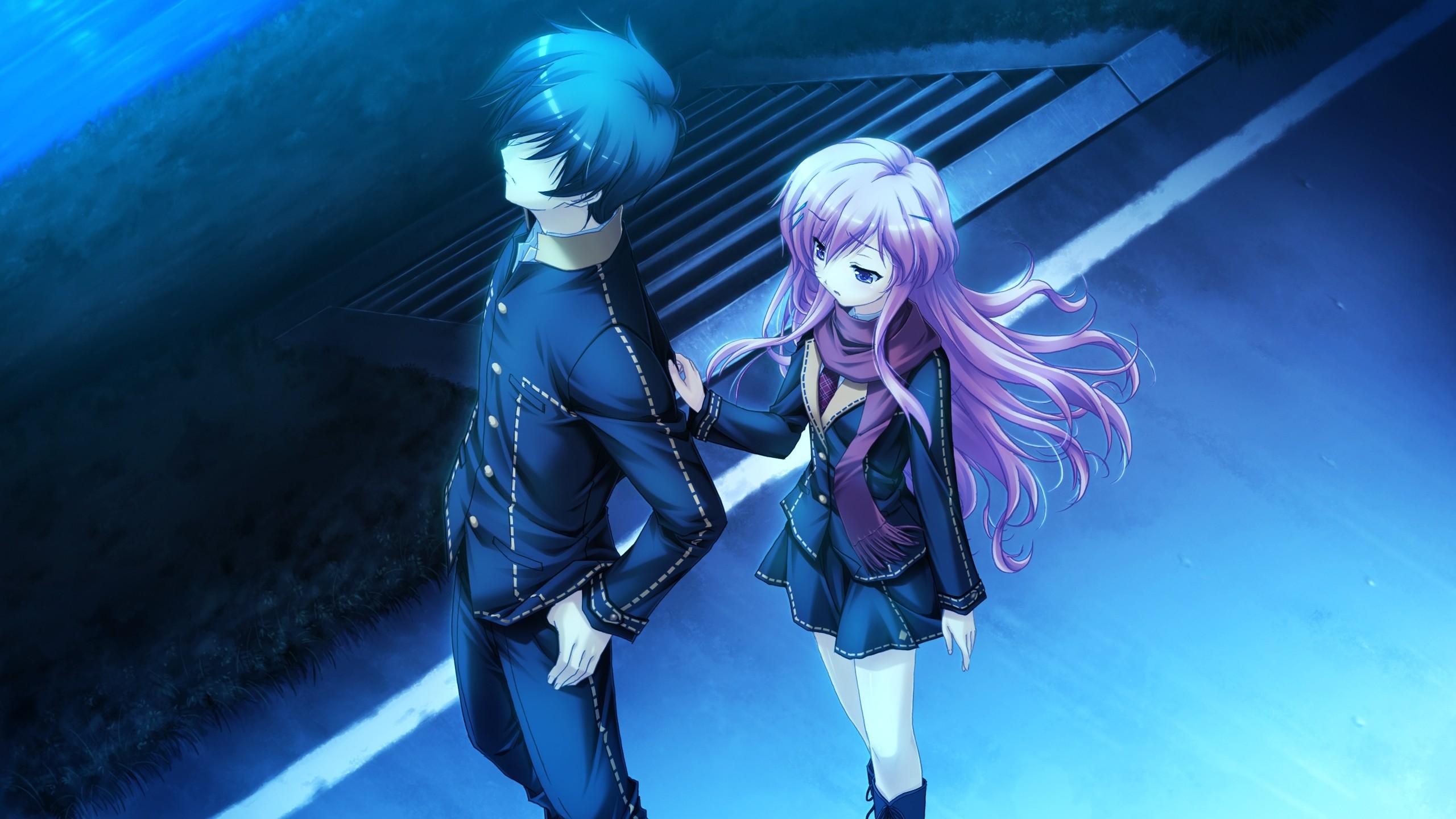 Wallpaper anime, boy, girl, touching, twilight