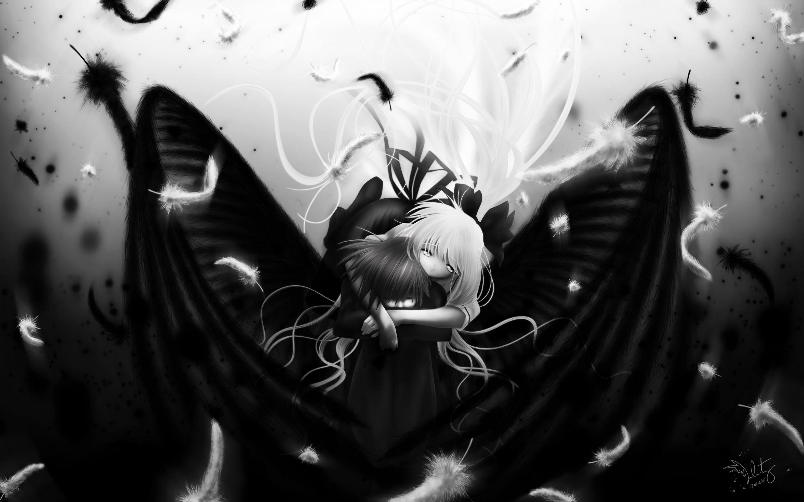 Anime Boy Air Monochrome Angel Black Cute Girl Kamio 1033546 Wallpaper  wallpaper