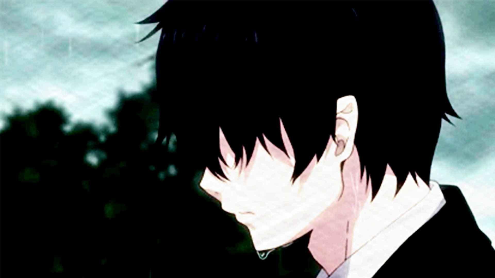 anime boy in rain