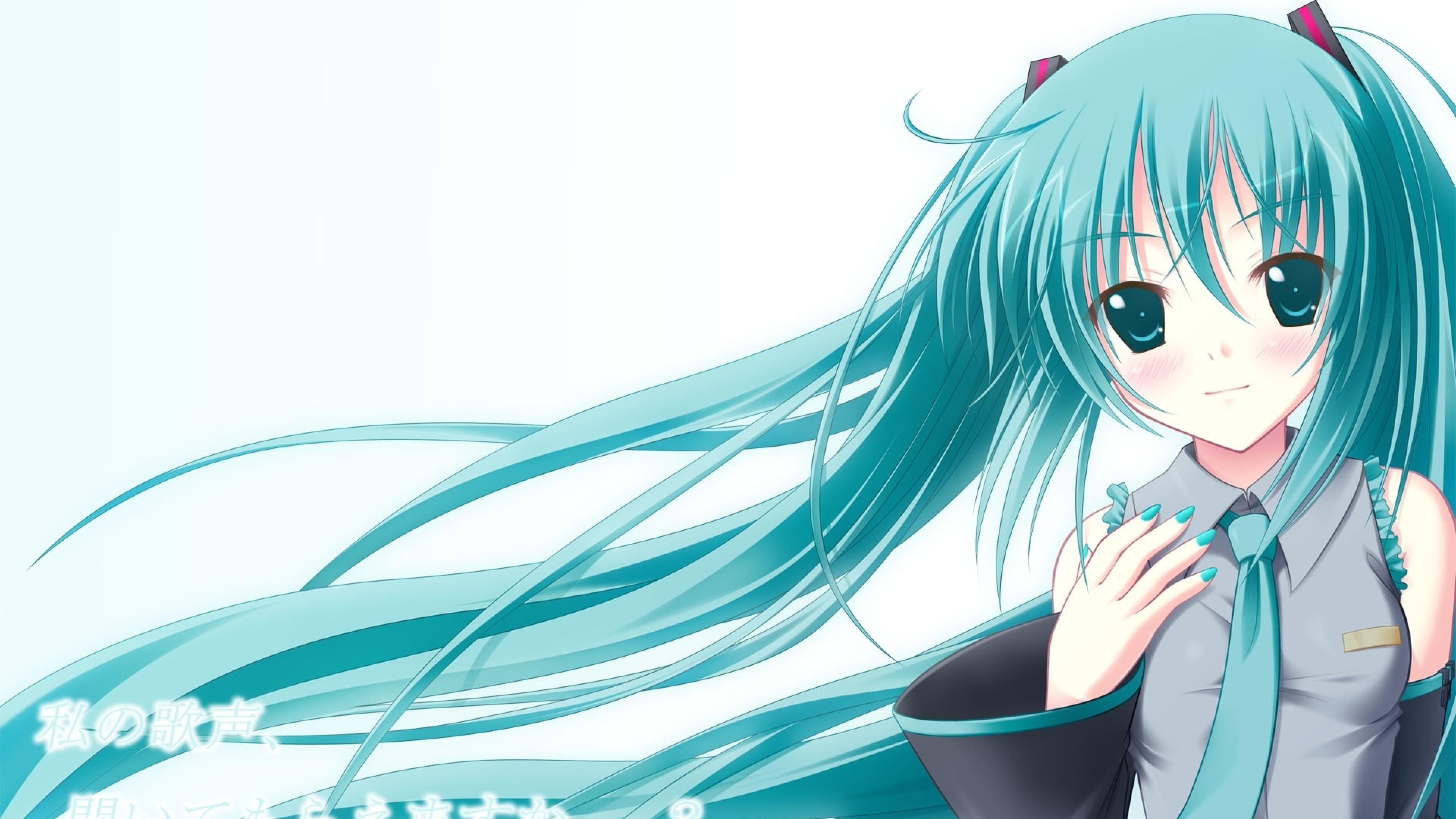 Wallpaper girl, hair, light, blue, anime