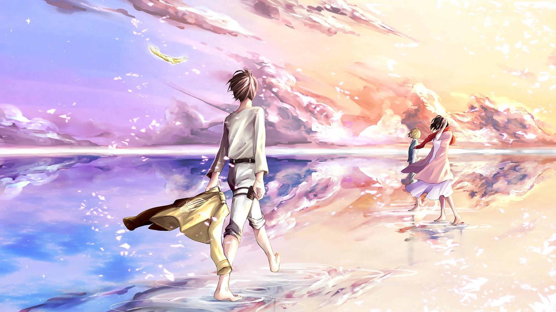 Shingeki no Kyojin » Fanart » Wallpaper   Pastel cloudy skies   #eren  #armin #mikasa   Shingeki no Kyojin   Pinterest   Armin, Fanart and Anime