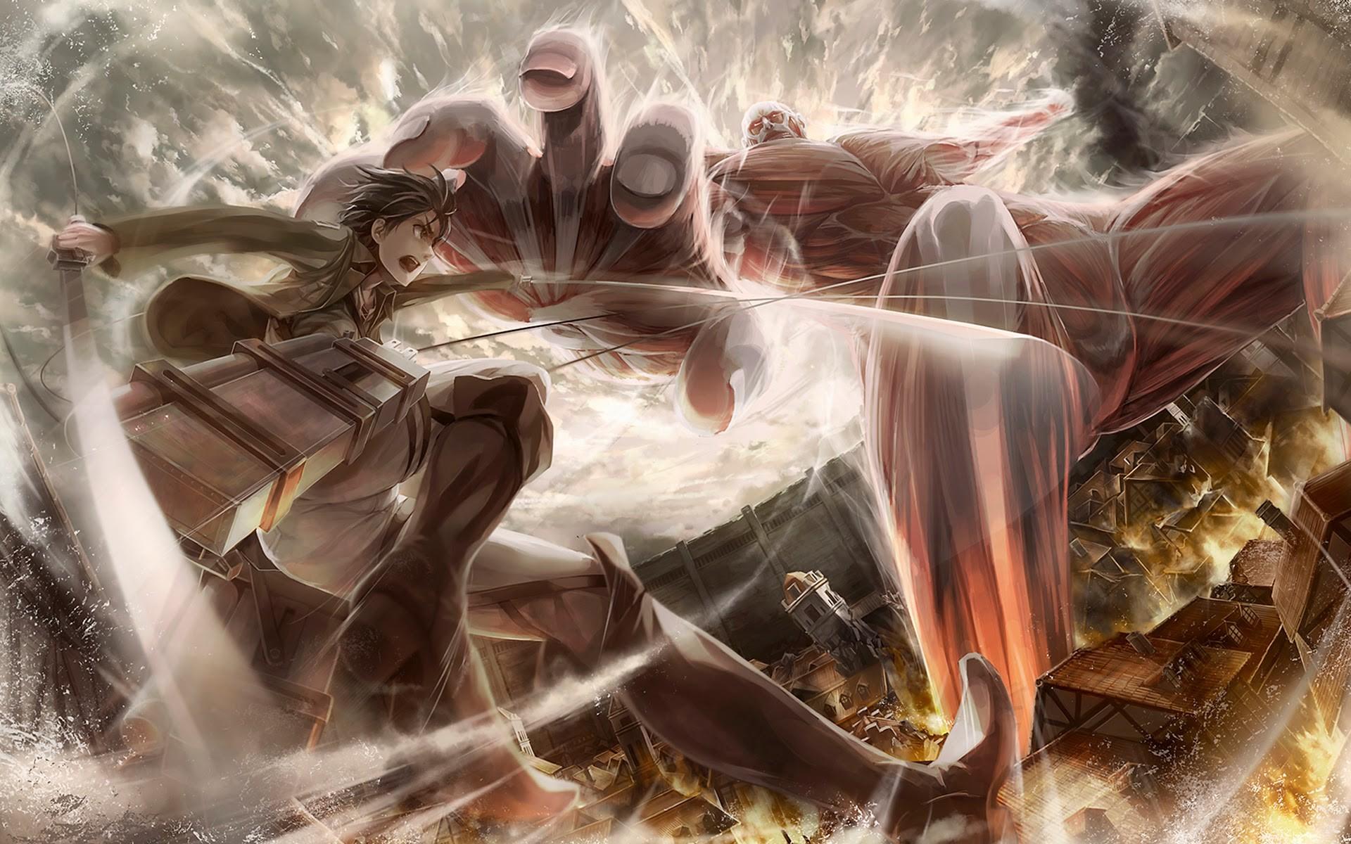 colossal-titan-vs-eren-jaeger-attack-on-titan-hd-wallpaper-1920×1200.jpg  (1920×1200)   Shingeki No Kyojin   Pinterest   Anime fan art and Anime