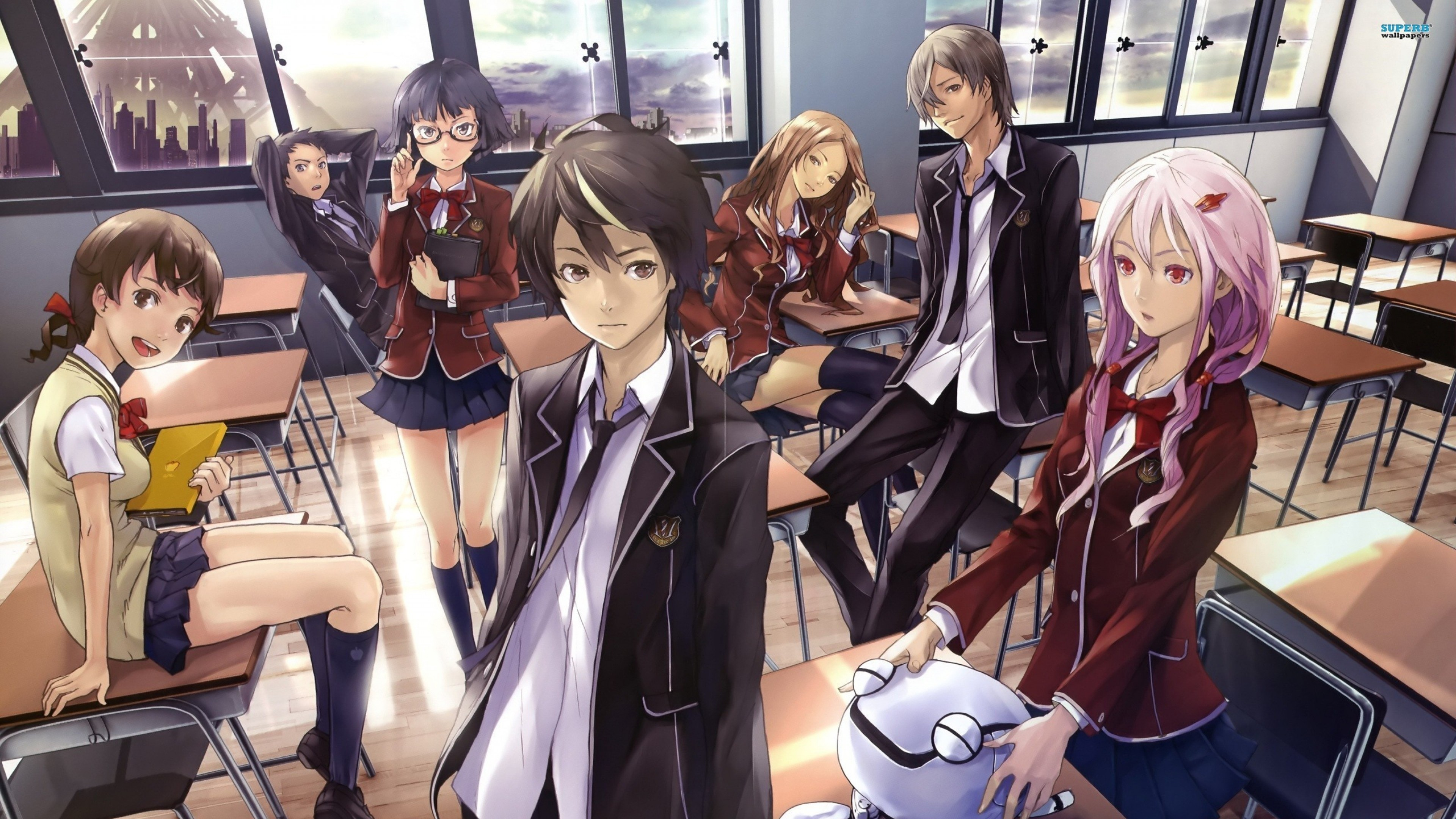 Wallpaper anime, guilty crown, students, class, rest