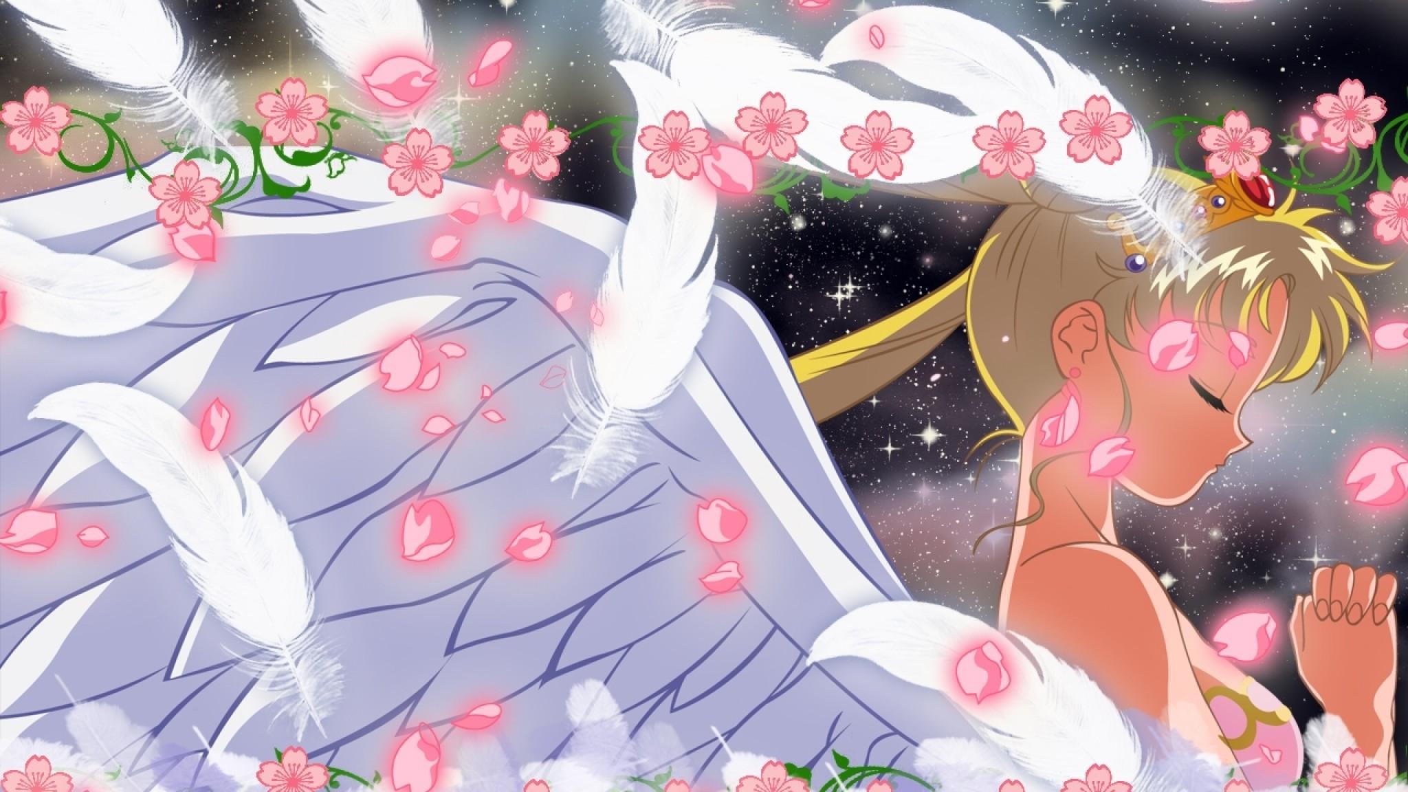 Preview wallpaper sailor moon, tsukino usagi, girl, wings, flowers 2048×1152
