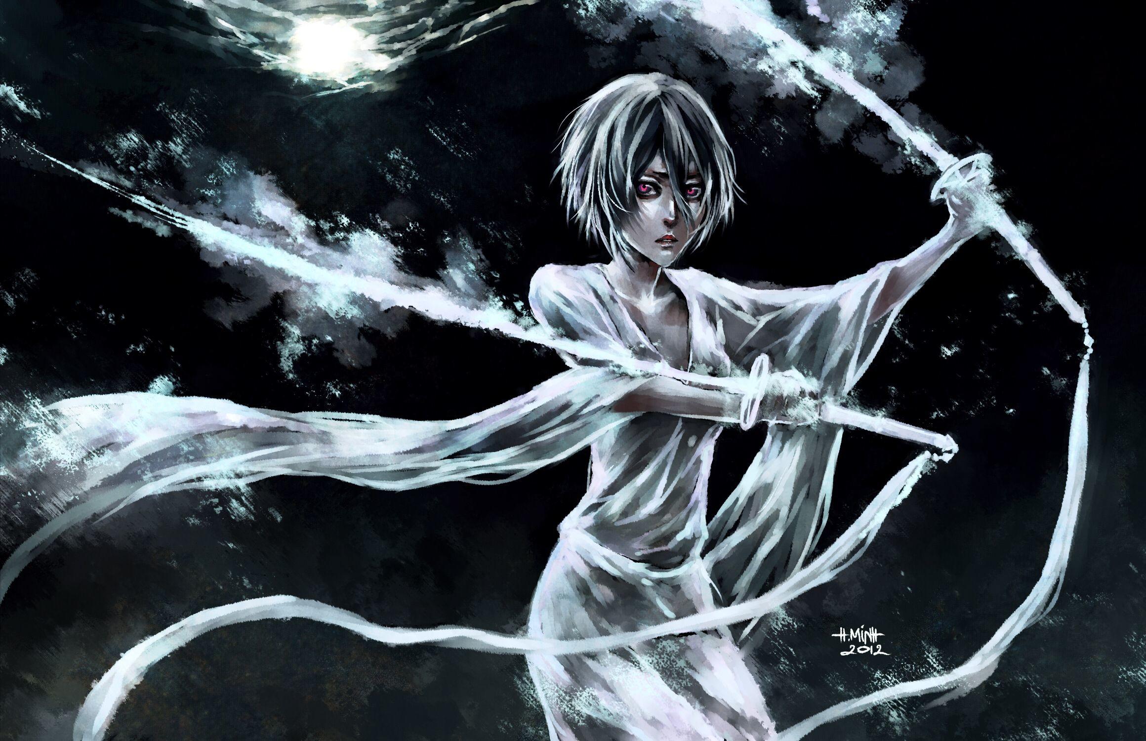 anime girl, nanfe, swords, paint, art, red eyes, dark,