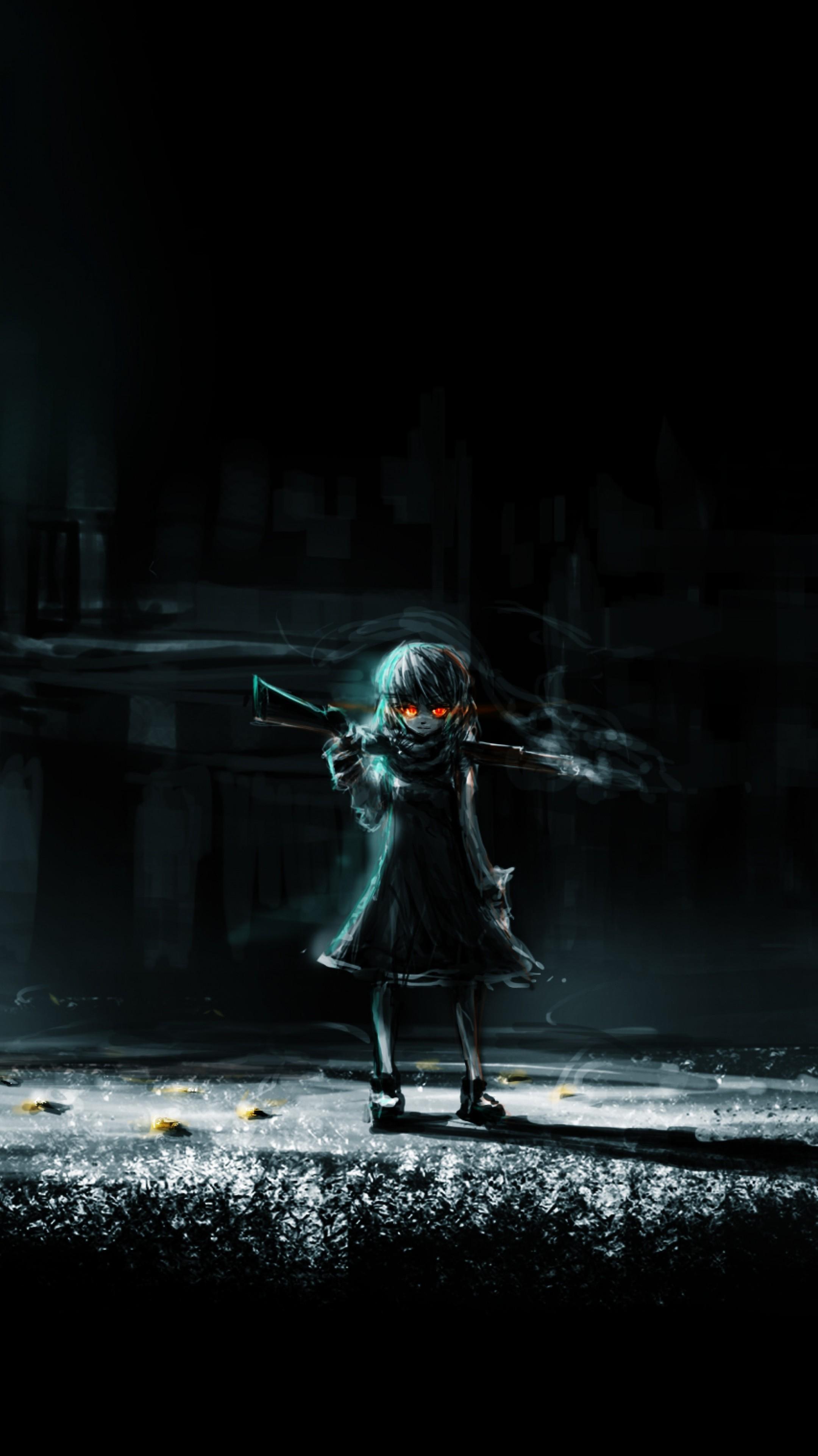 Wallpaper dark anime, girl, art, dark, night